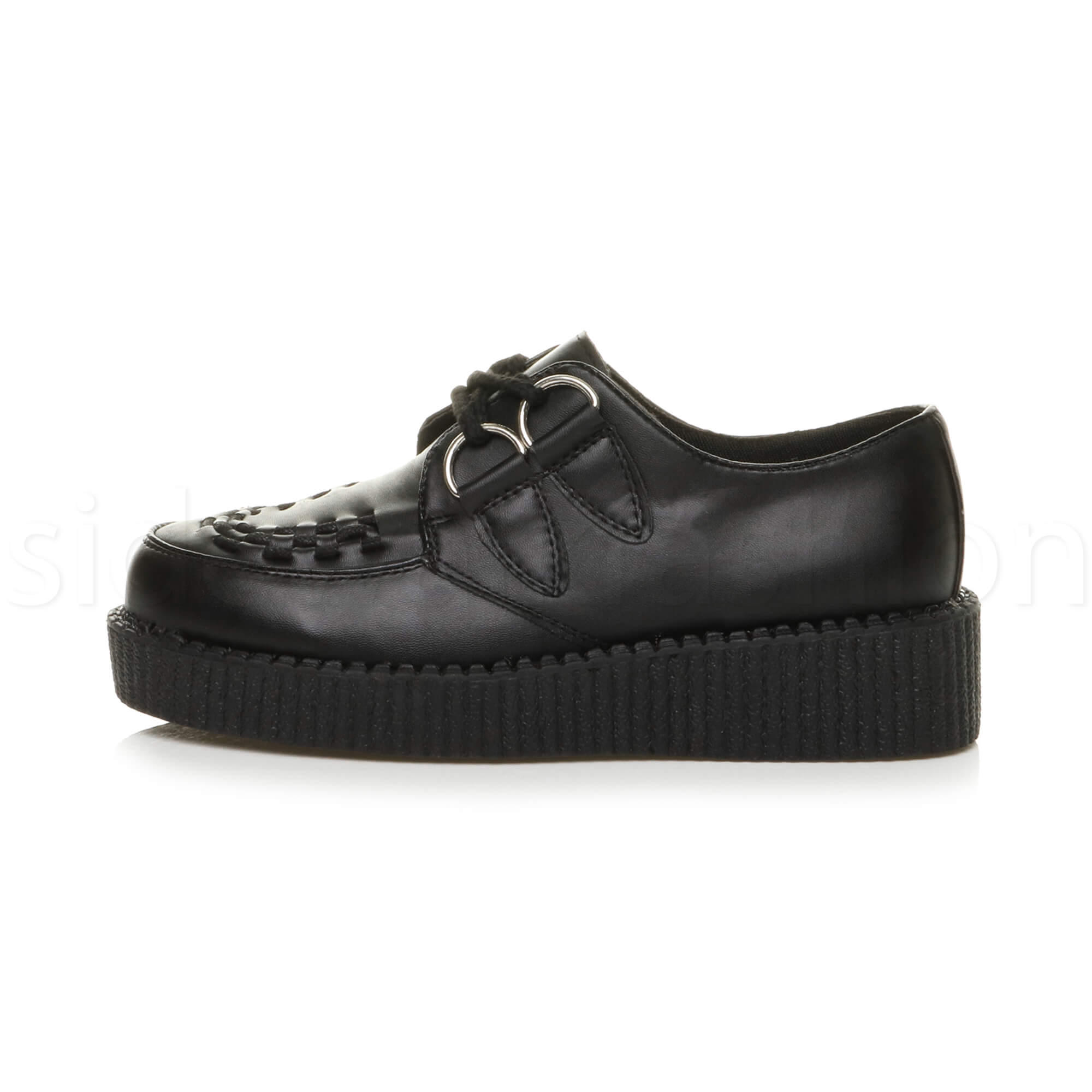 Womens-ladies-flat-platform-wedge-lace-up-goth-punk-creepers-shoes-boots-size miniatura 3
