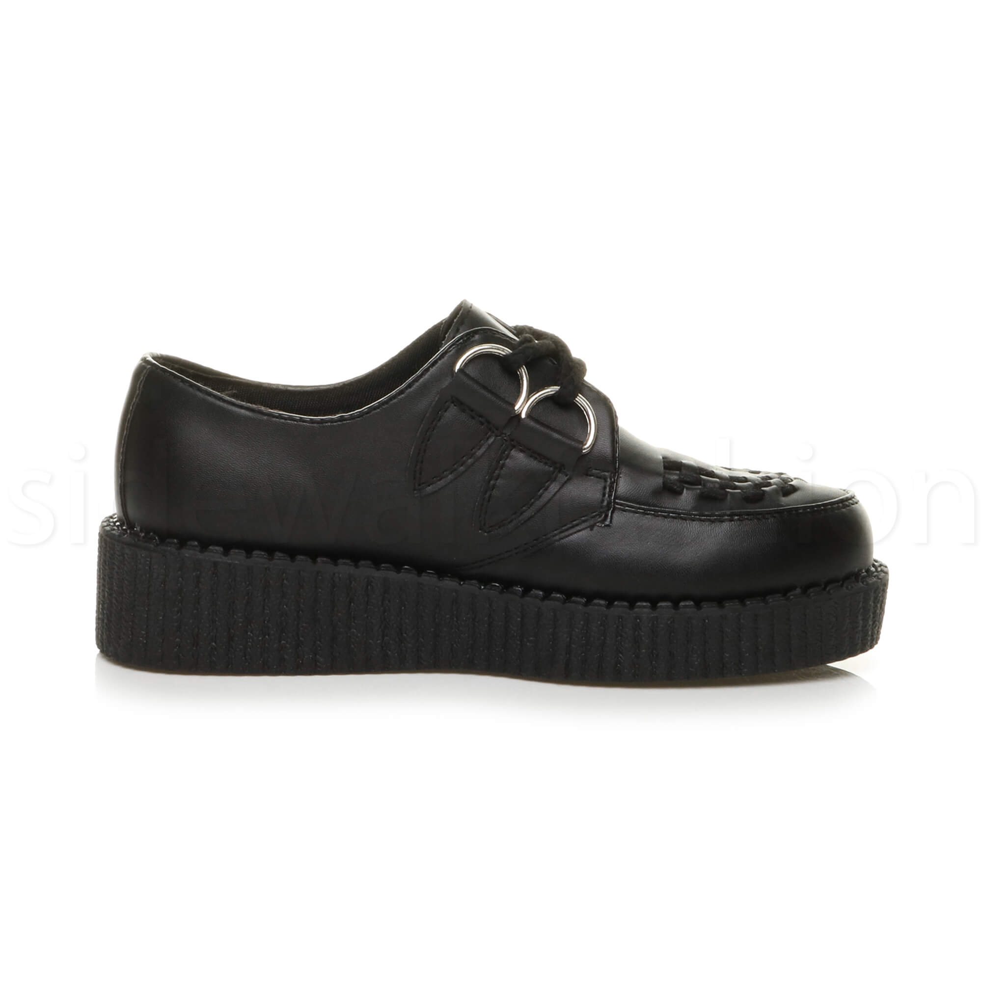 Womens-ladies-flat-platform-wedge-lace-up-goth-punk-creepers-shoes-boots-size miniatura 4