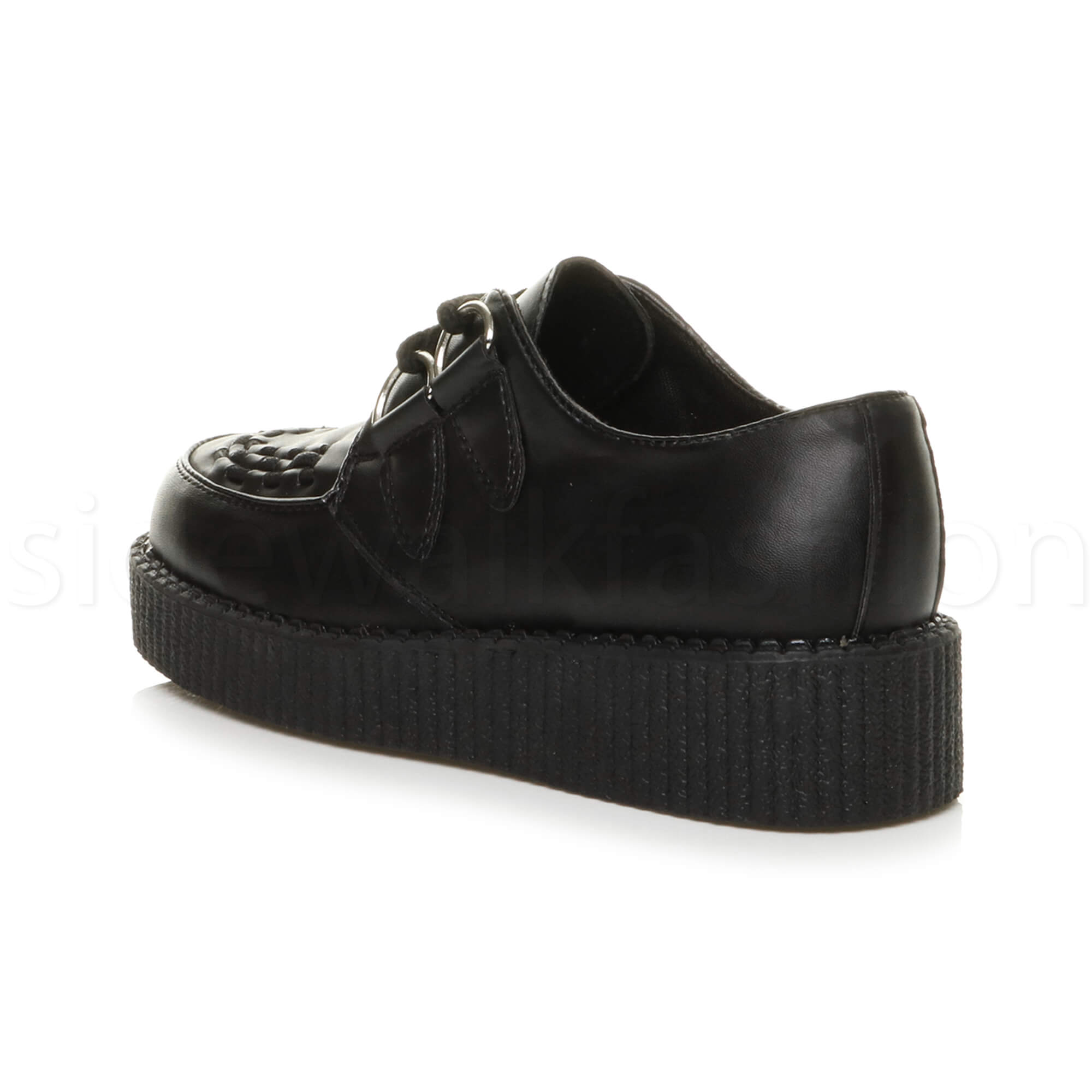 Womens-ladies-flat-platform-wedge-lace-up-goth-punk-creepers-shoes-boots-size miniatura 5