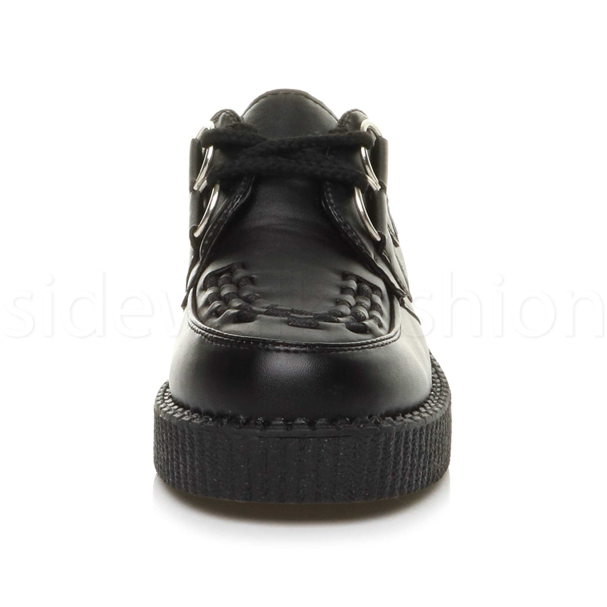 Womens-ladies-flat-platform-wedge-lace-up-goth-punk-creepers-shoes-boots-size miniatura 6