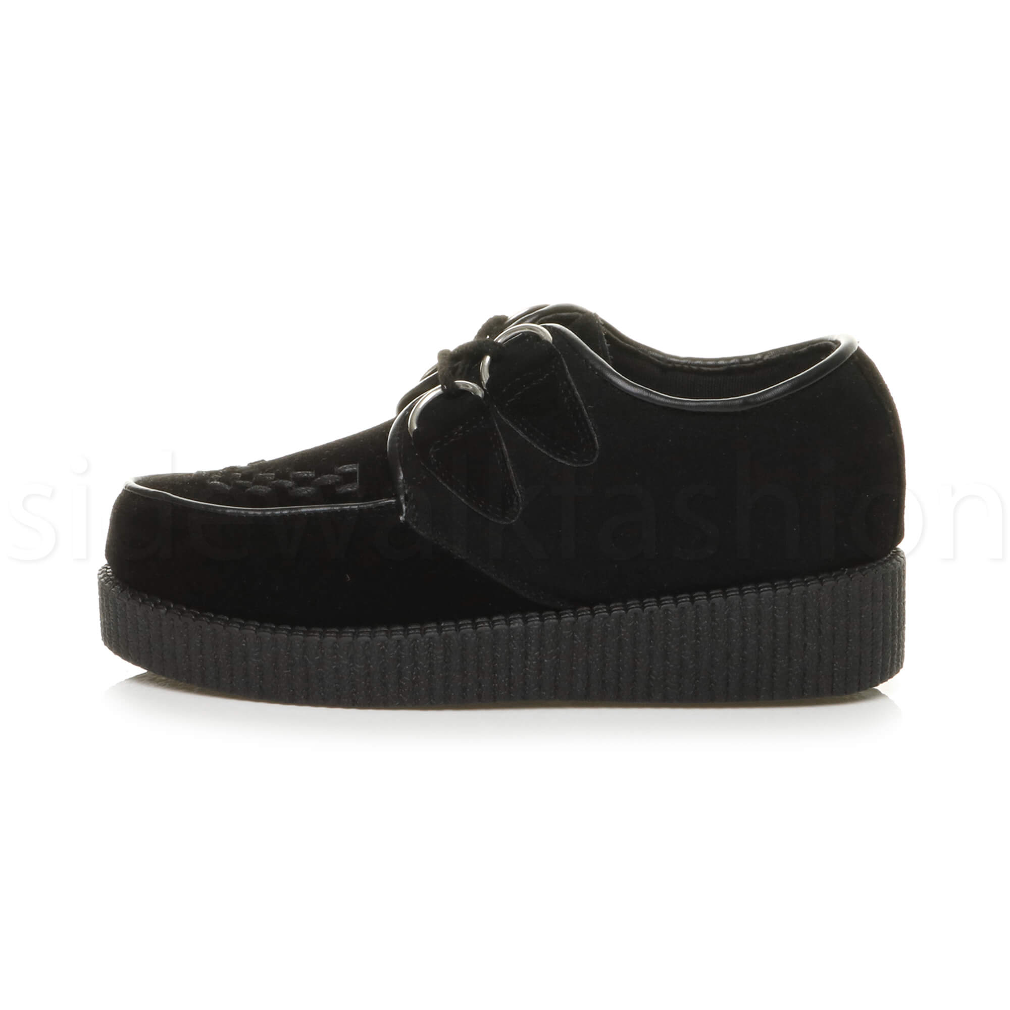 Womens-ladies-flat-platform-wedge-lace-up-goth-punk-creepers-shoes-boots-size miniatura 13