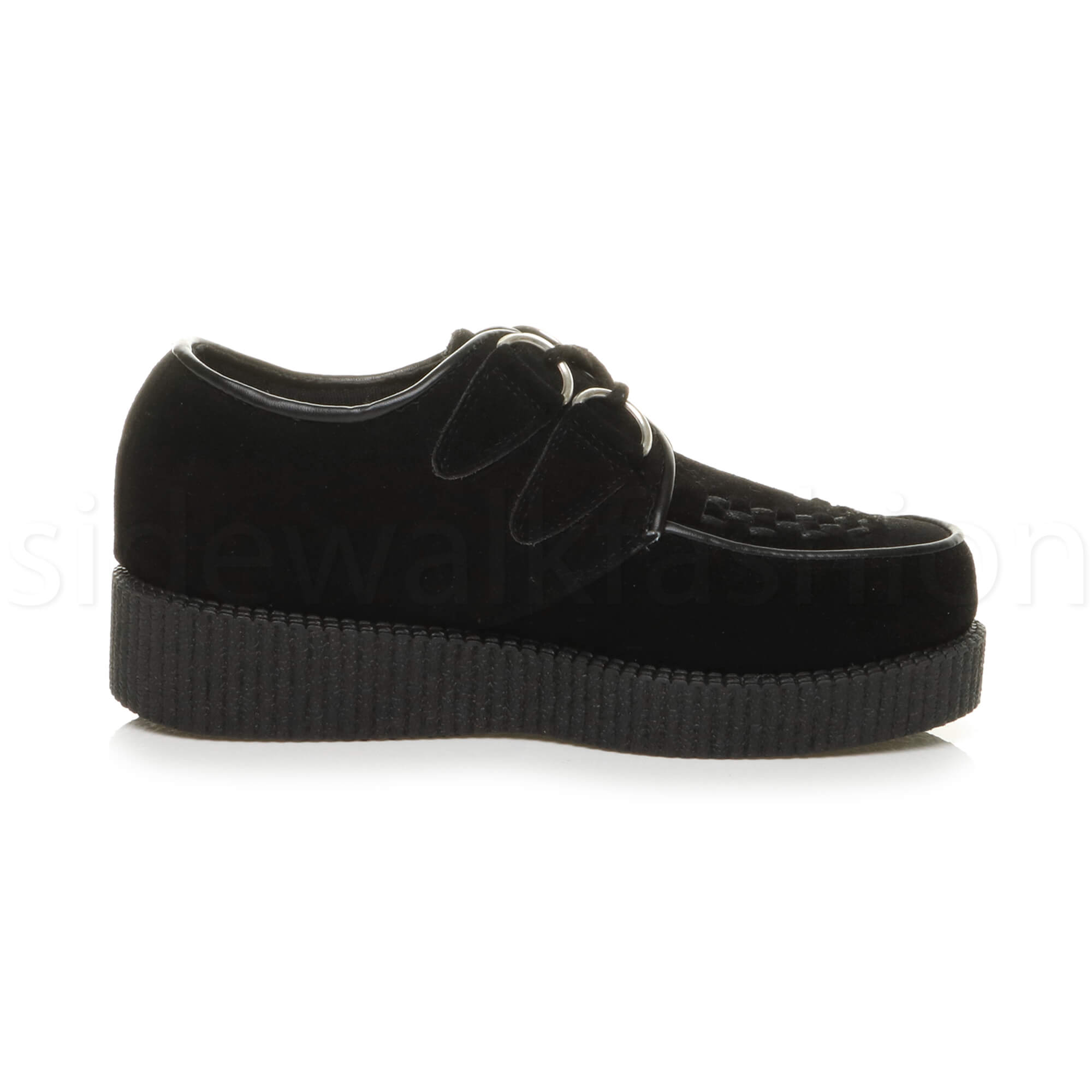 Womens-ladies-flat-platform-wedge-lace-up-goth-punk-creepers-shoes-boots-size miniatura 14
