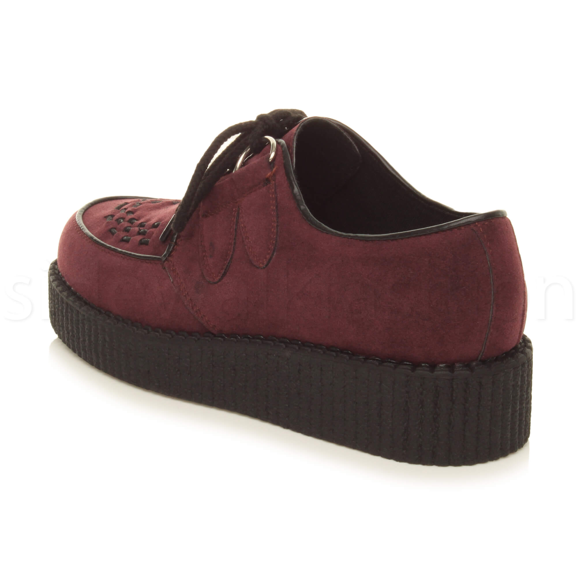 Womens-ladies-flat-platform-wedge-lace-up-goth-punk-creepers-shoes-boots-size miniatura 36