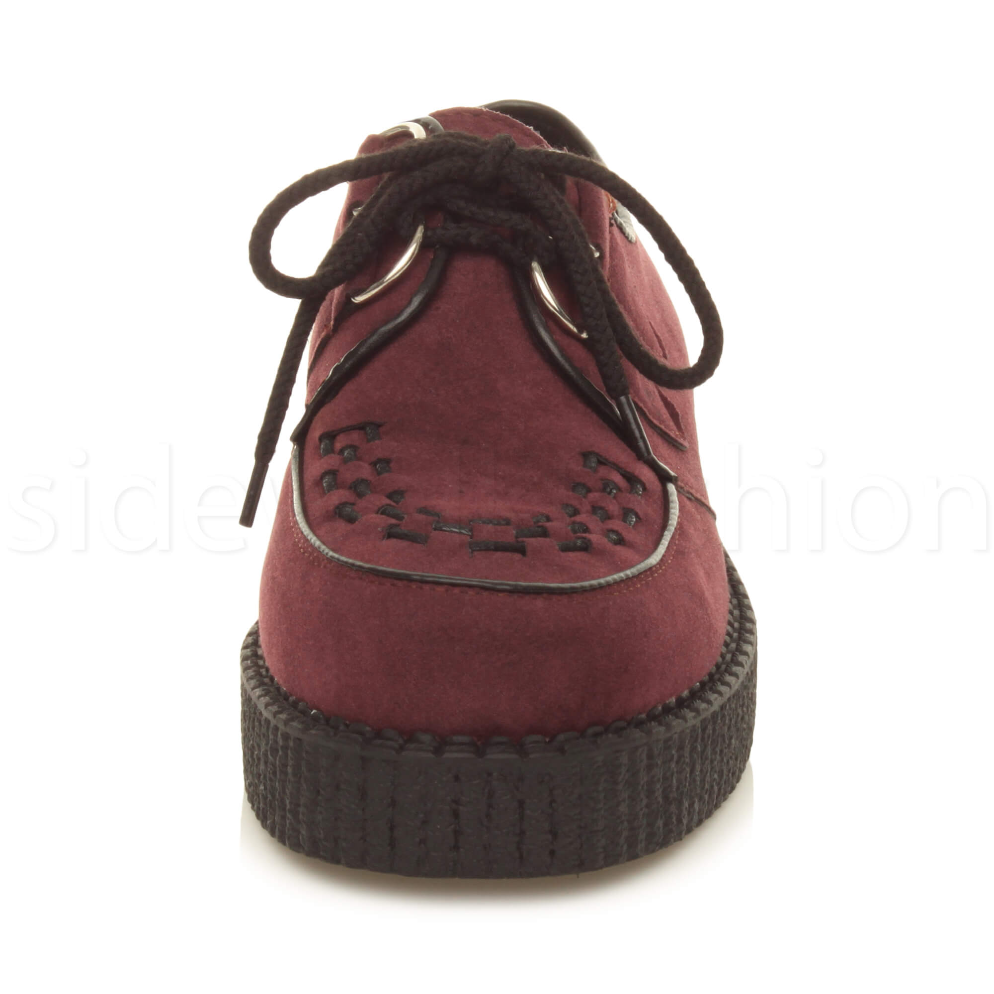 Womens-ladies-flat-platform-wedge-lace-up-goth-punk-creepers-shoes-boots-size miniatura 37