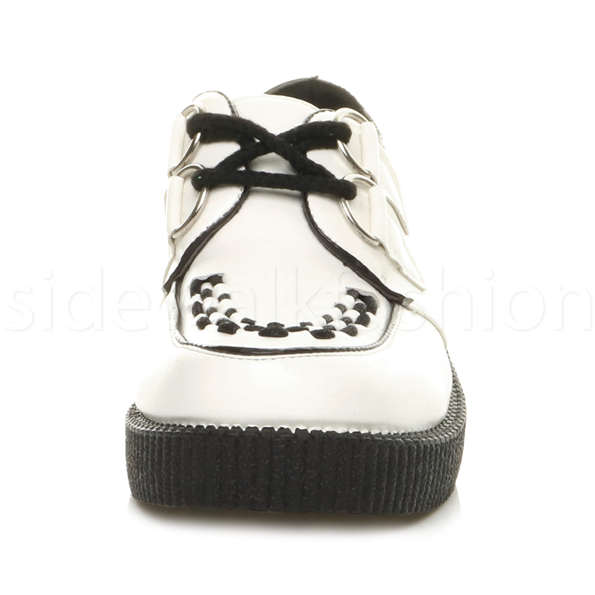 Womens-ladies-flat-platform-wedge-lace-up-goth-punk-creepers-shoes-boots-size miniatura 57