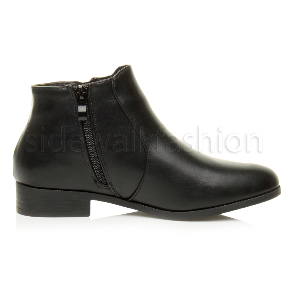 Womens-ladies-flat-low-heel-work-smart-pixie-chelsea-riding-ankle-boot-size