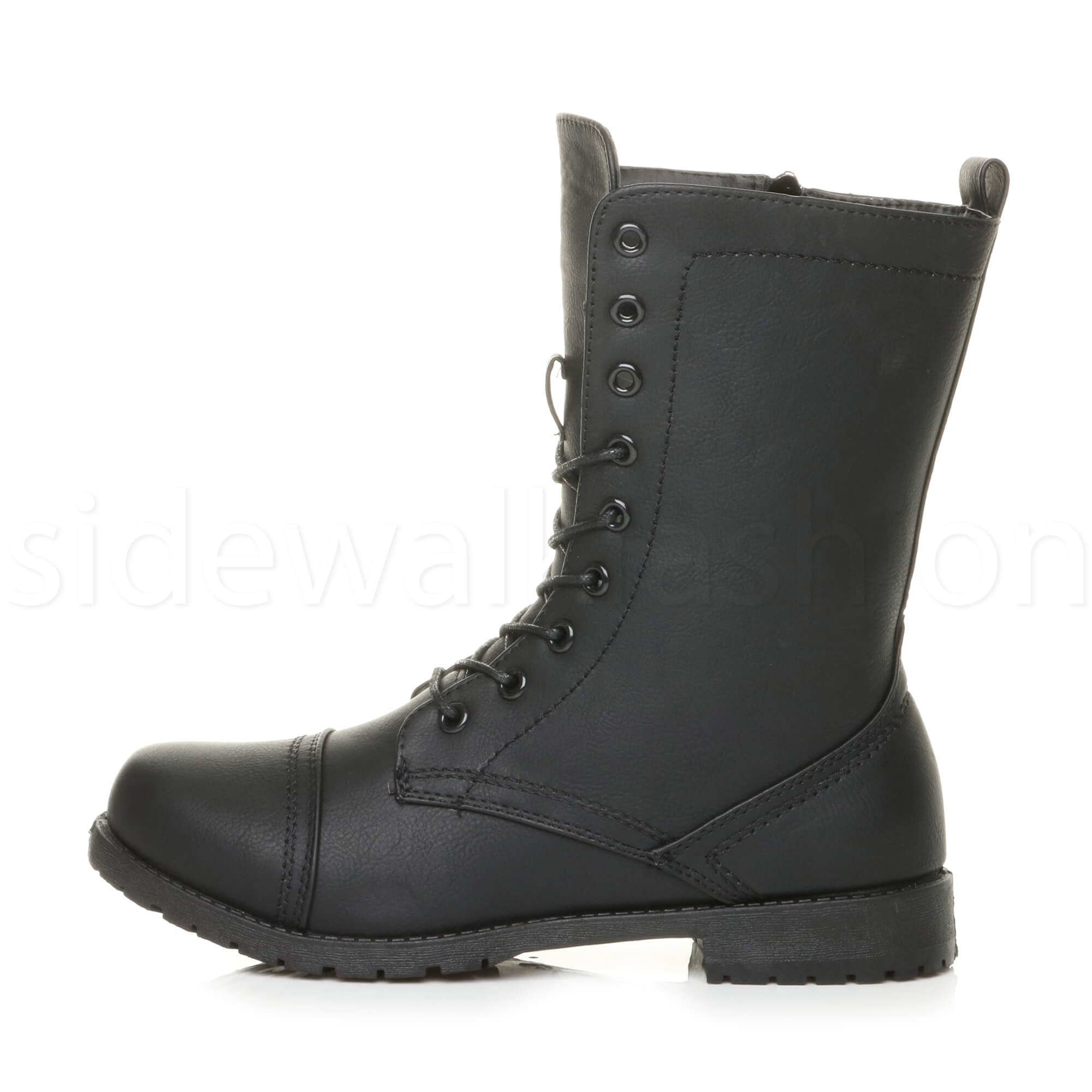 Womens-ladies-low-heel-flat-lace-up-zip-combat-biker-military-ankle-boots-size thumbnail 59