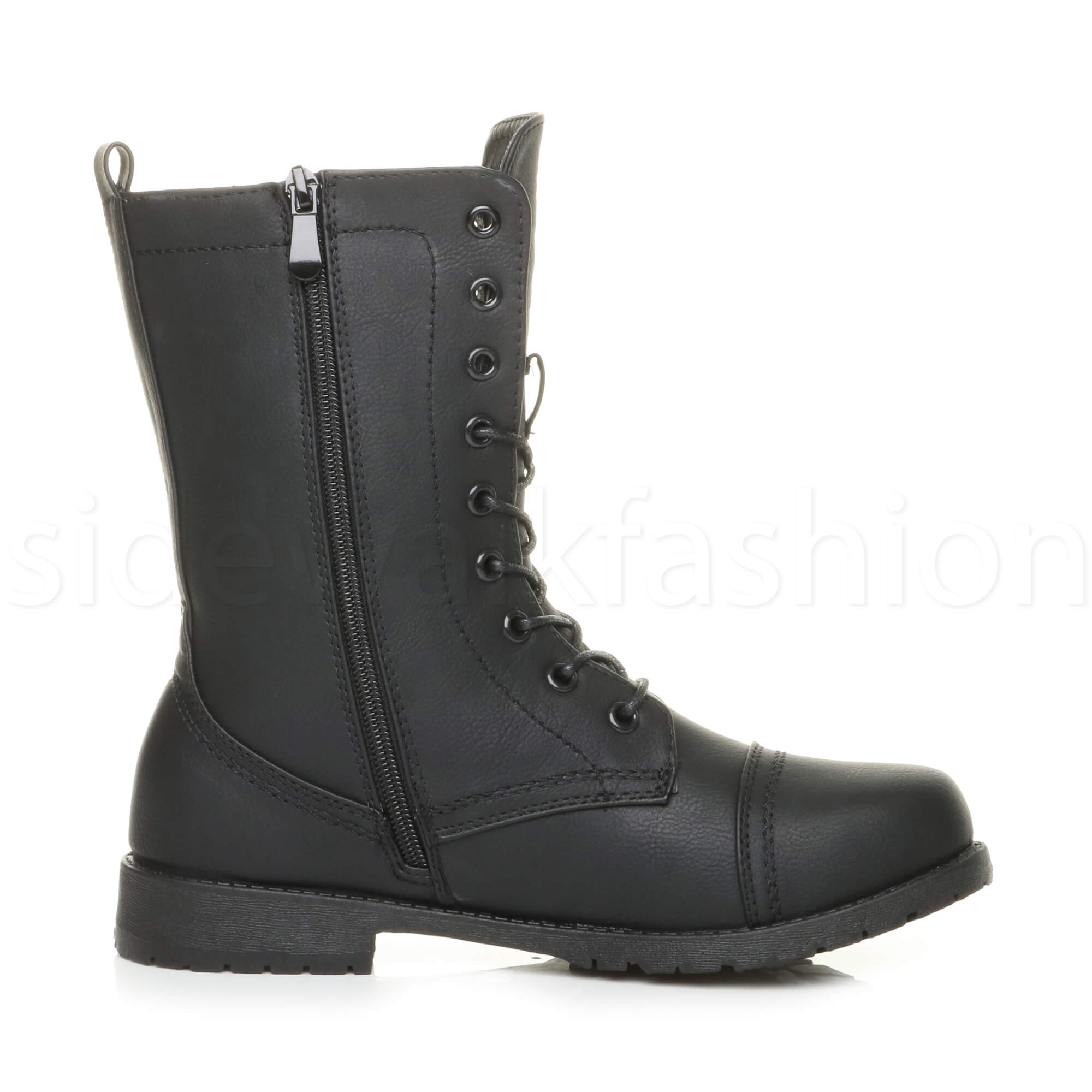 Womens-ladies-low-heel-flat-lace-up-zip-combat-biker-military-ankle-boots-size thumbnail 60