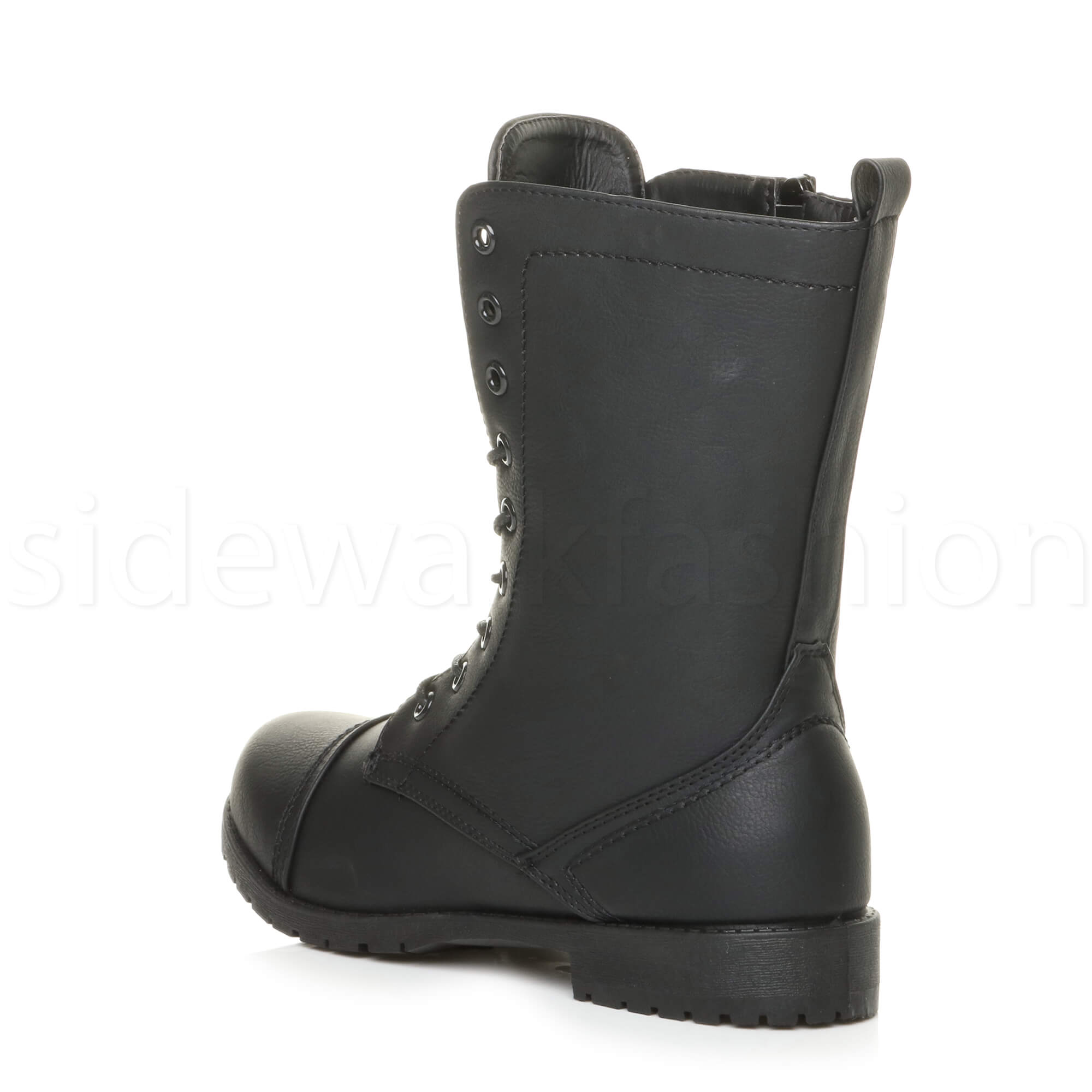 Womens-ladies-low-heel-flat-lace-up-zip-combat-biker-military-ankle-boots-size thumbnail 61