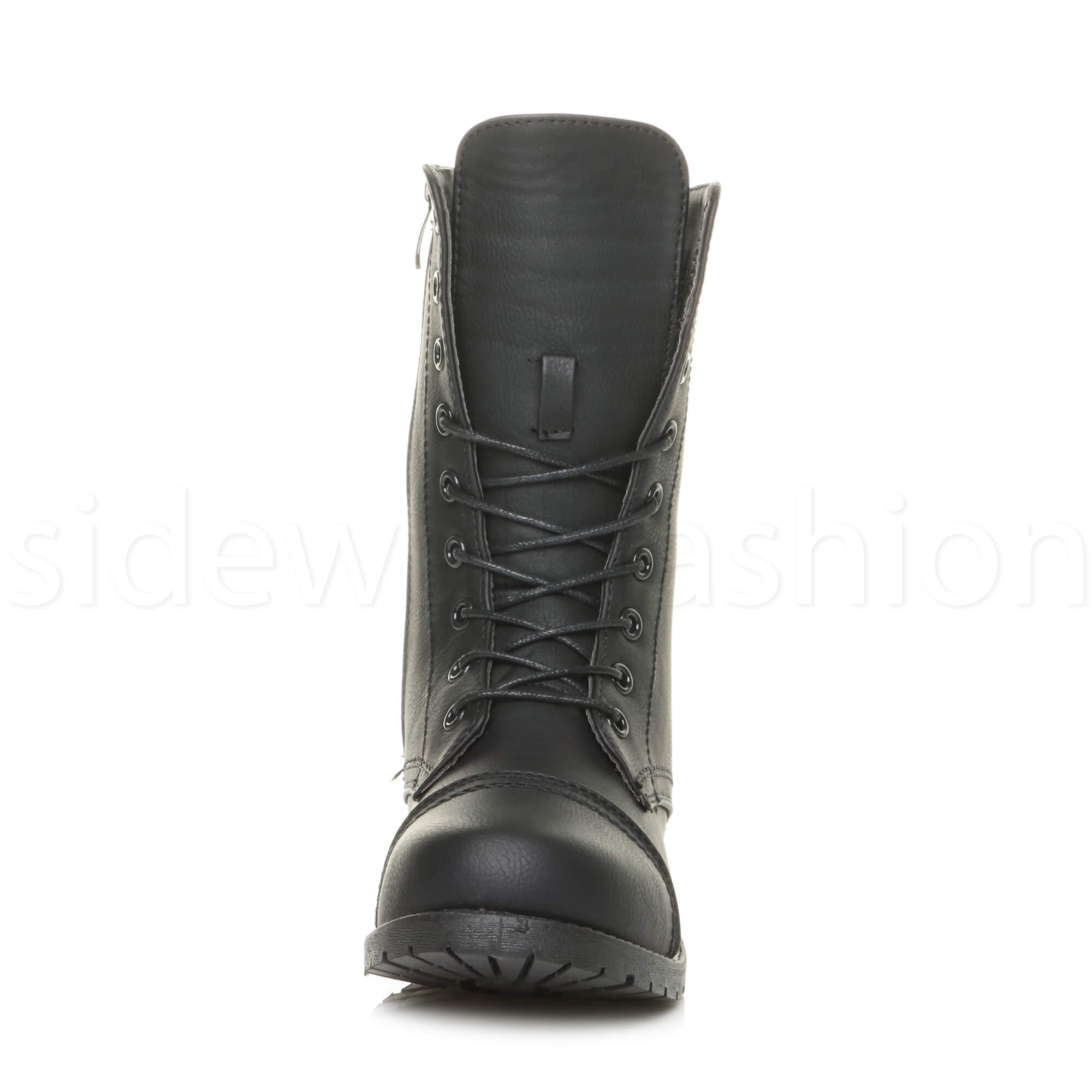 Womens-ladies-low-heel-flat-lace-up-zip-combat-biker-military-ankle-boots-size thumbnail 63