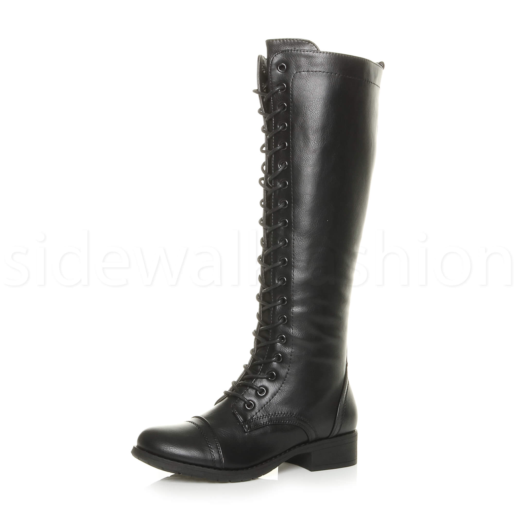 Synthetic Leather Block Med Heel Knee High Shoes Women's Boots Zip AU All Size