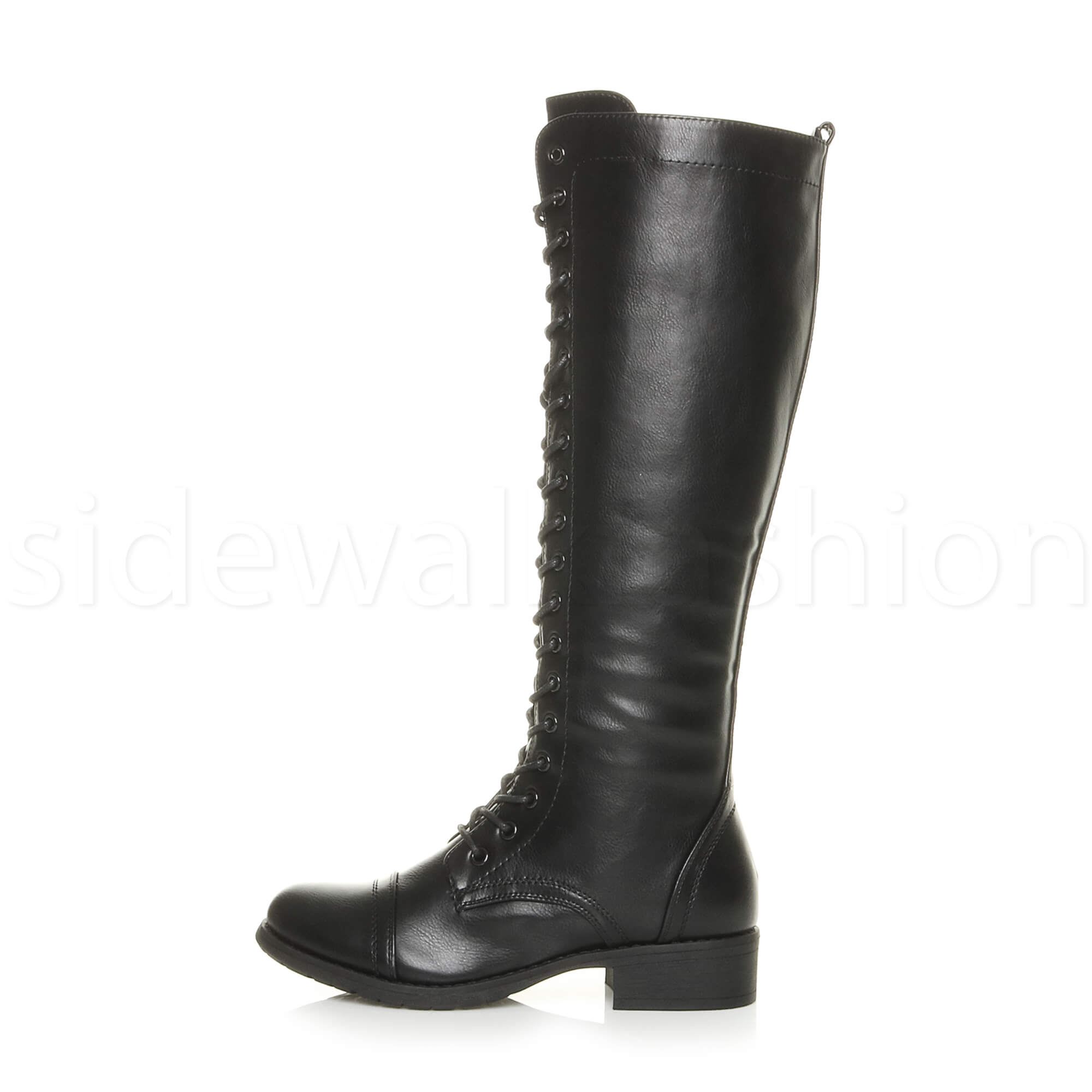Womens Ladies Flat Low Block Heel Winter Over The Knee stretch back lace boots