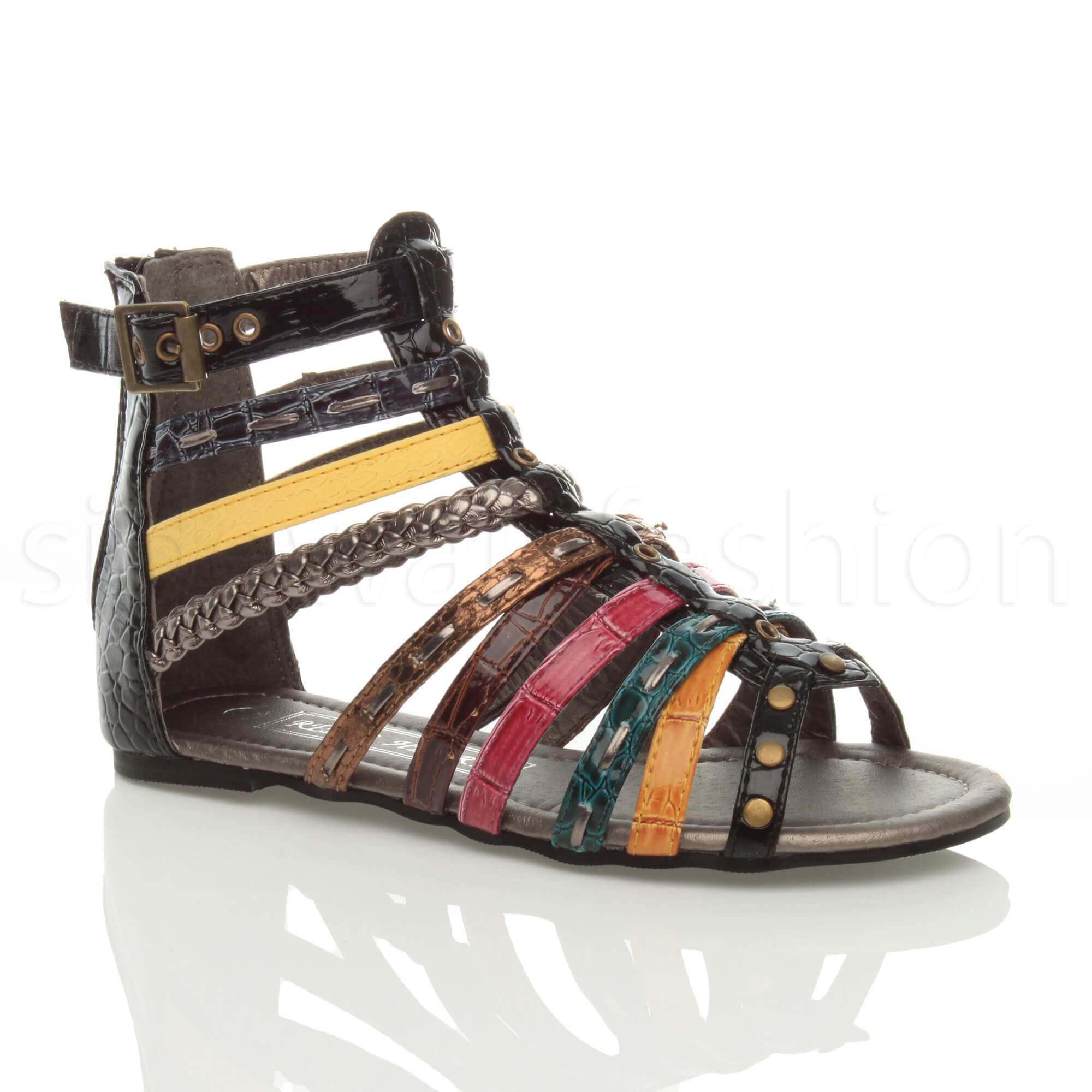 b850d0f3592 Details about Girls kids childrens flat strappy summer multicoloured gladiator  sandals size