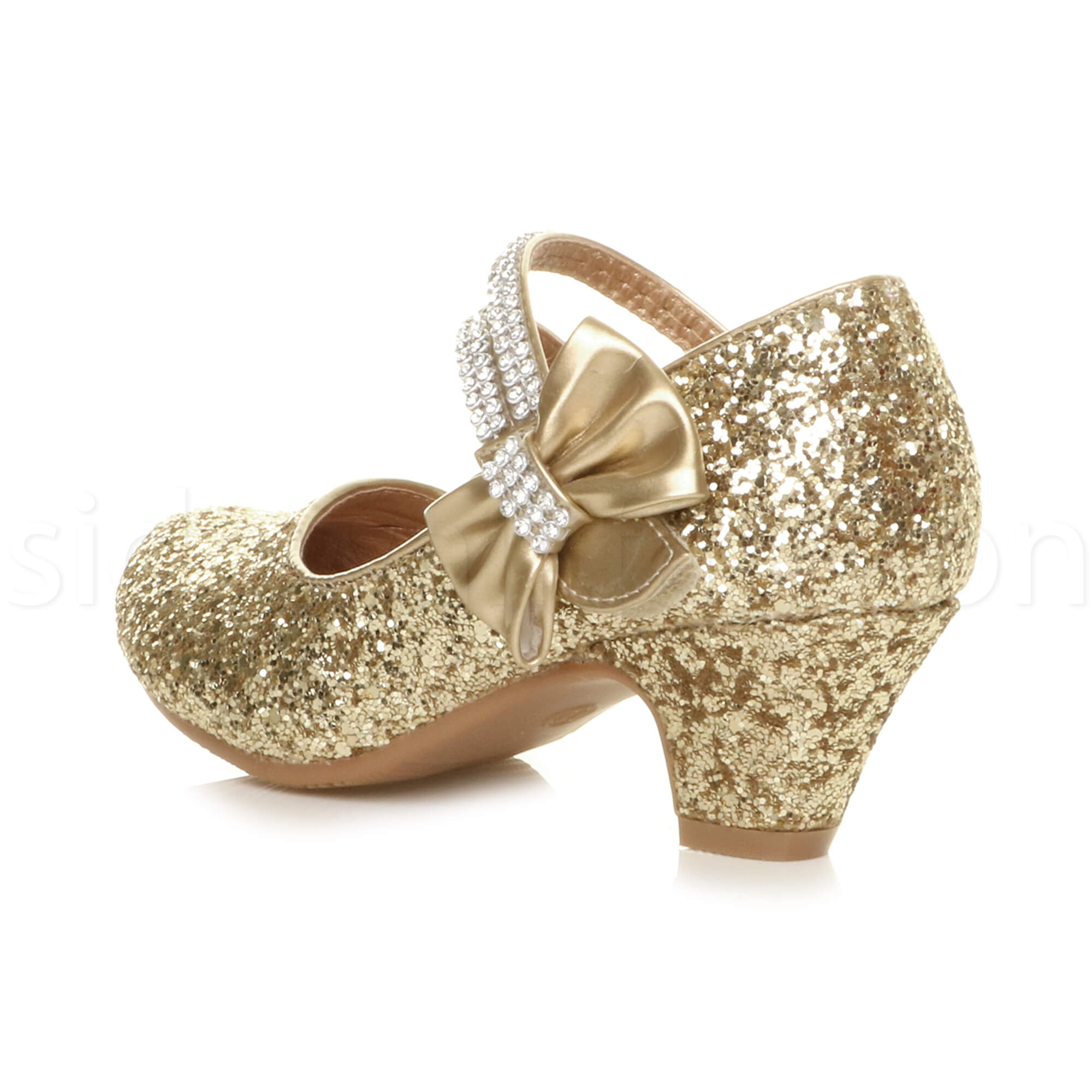 Girls kids childrens low heel party wedding mary jane sandals