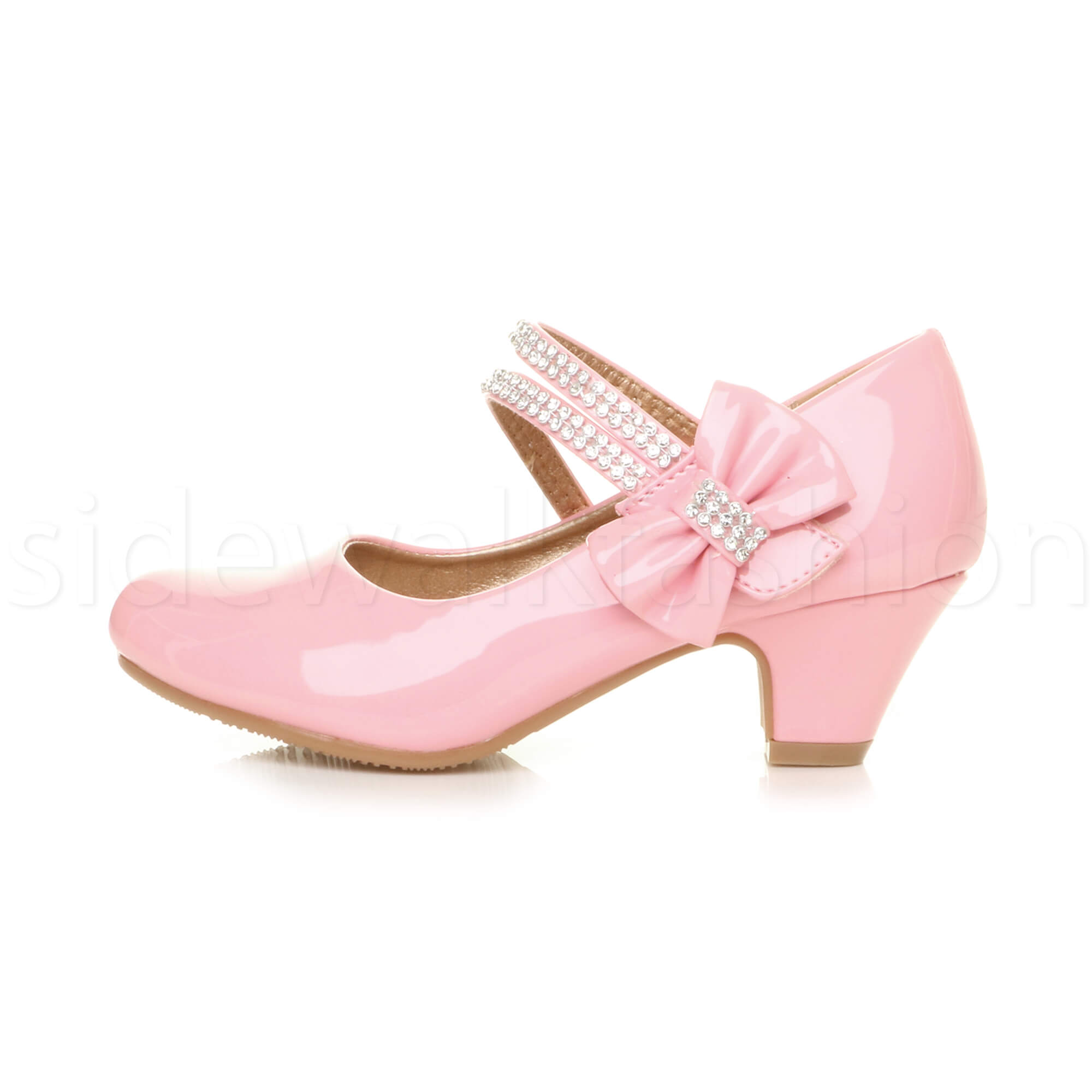 Girls kids childrens low heel party wedding mary jane sandals ...