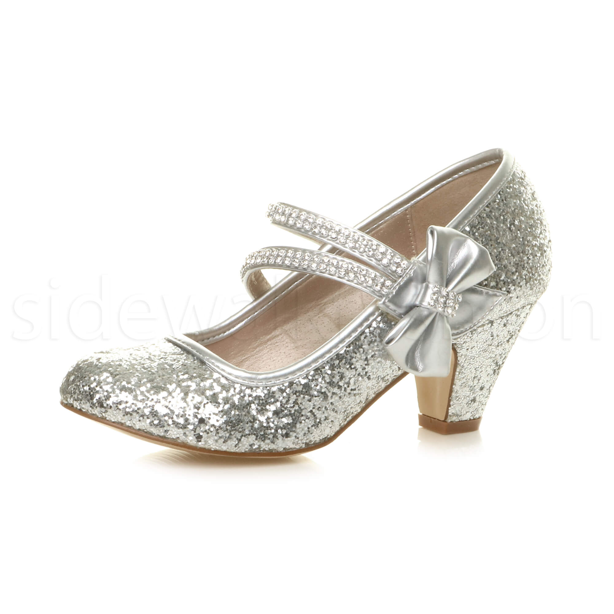 Girls kids childrens low heel party wedding mary jane sandals ...