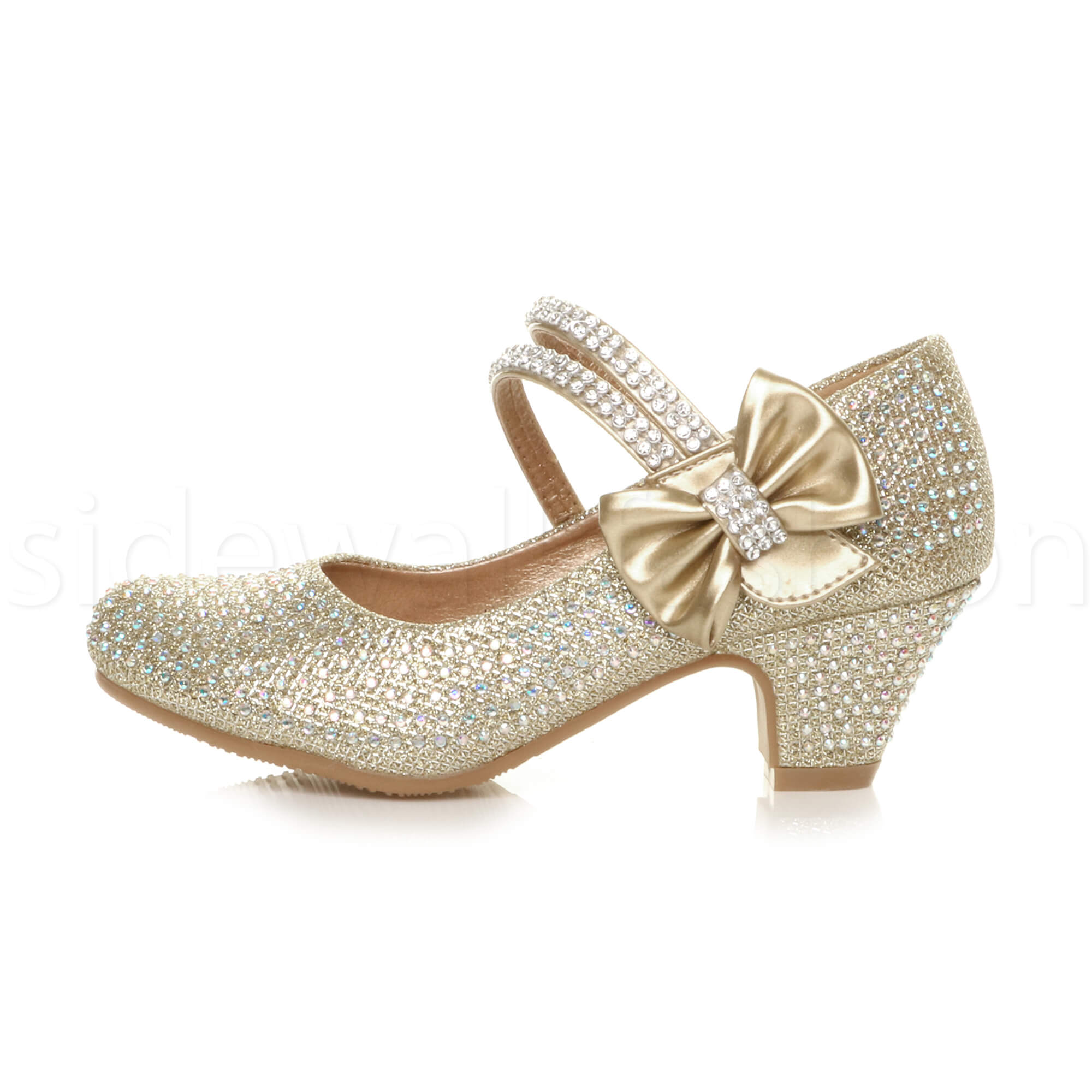 Girls-kids-childrens-low-heel-party-wedding-mary-jane-sandals-court-shoes-size