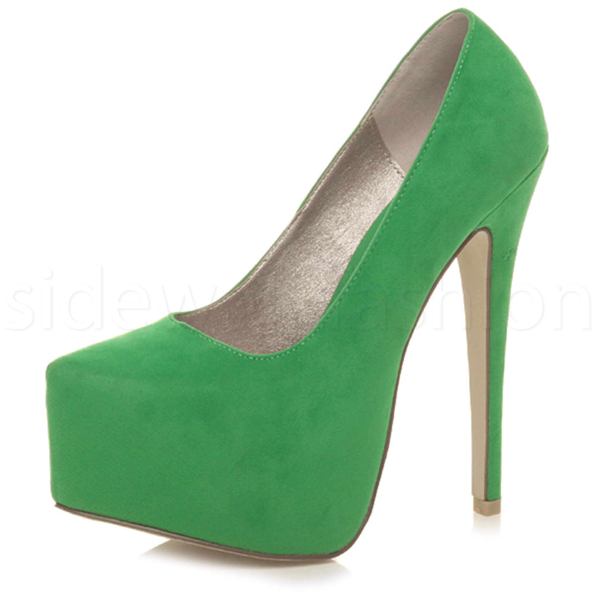 Mujer-Damas-Tacon-Alto-Oculta-Plataforma-Zapatos-Clasicos-Tribunal-Puntiagudo-bomba-Tamano