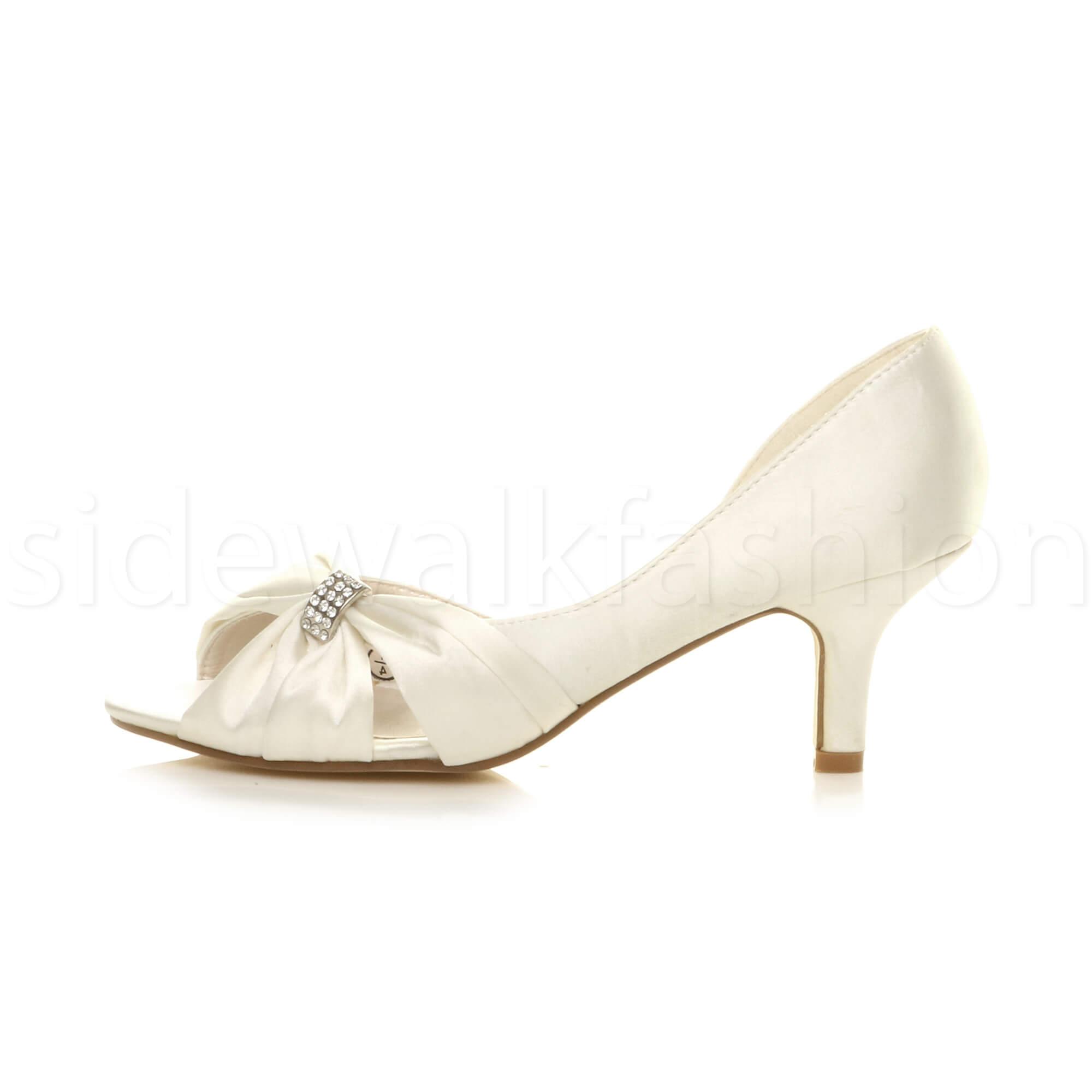 3c7a0bf5815a Womens Ladies Wedding Evening Low Kitten Heel Peeptoe Shoes Sandals ...