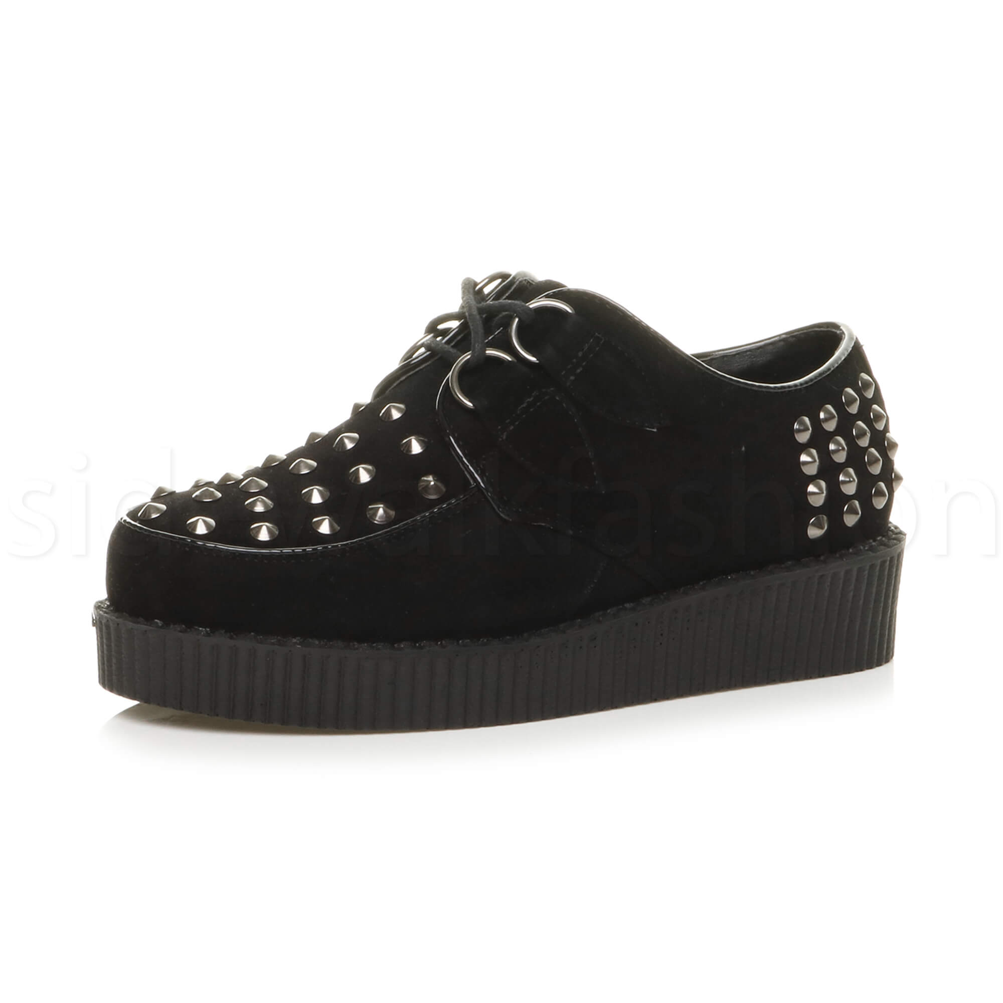 Womens-ladies-flat-platform-wedge-lace-up-goth-punk-creepers-shoes-boots-size miniatura 18