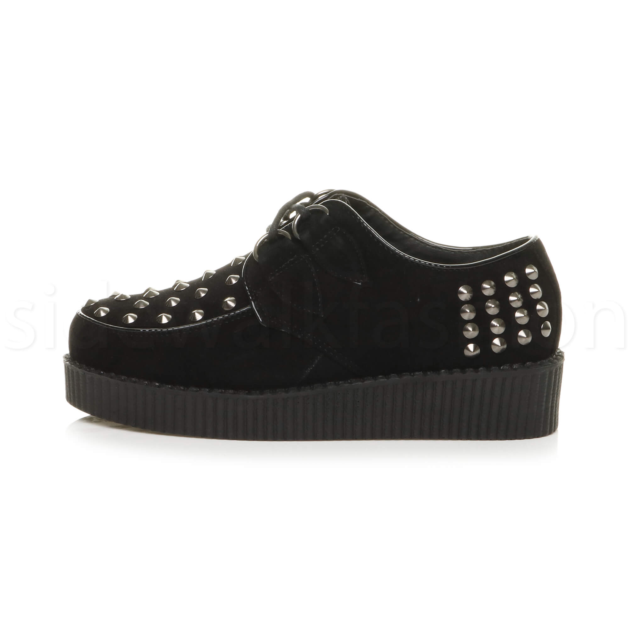 Womens-ladies-flat-platform-wedge-lace-up-goth-punk-creepers-shoes-boots-size miniatura 19