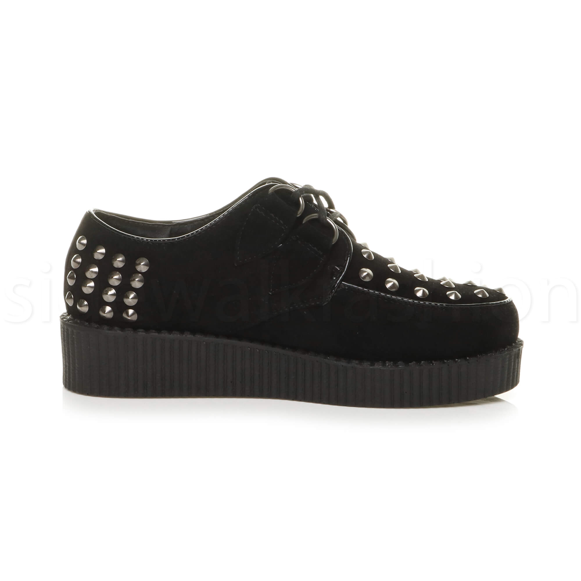 Womens-ladies-flat-platform-wedge-lace-up-goth-punk-creepers-shoes-boots-size miniatura 20