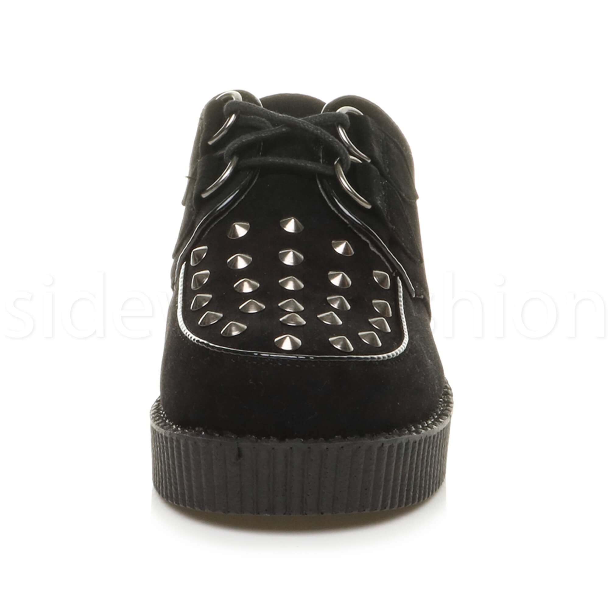 Womens-ladies-flat-platform-wedge-lace-up-goth-punk-creepers-shoes-boots-size miniatura 22