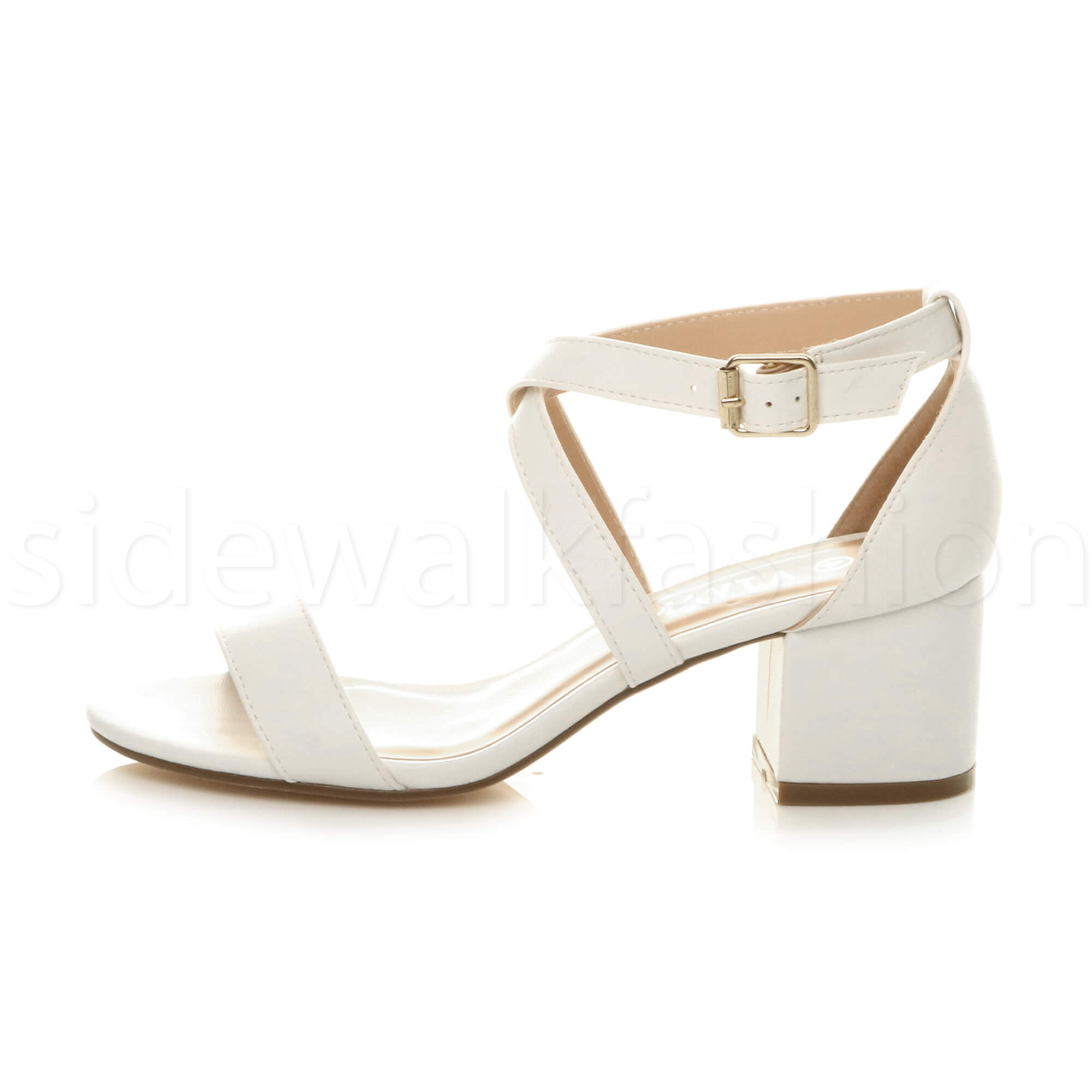 Womens ladies low mid chunky heel cross strappy summer holiday party sandals