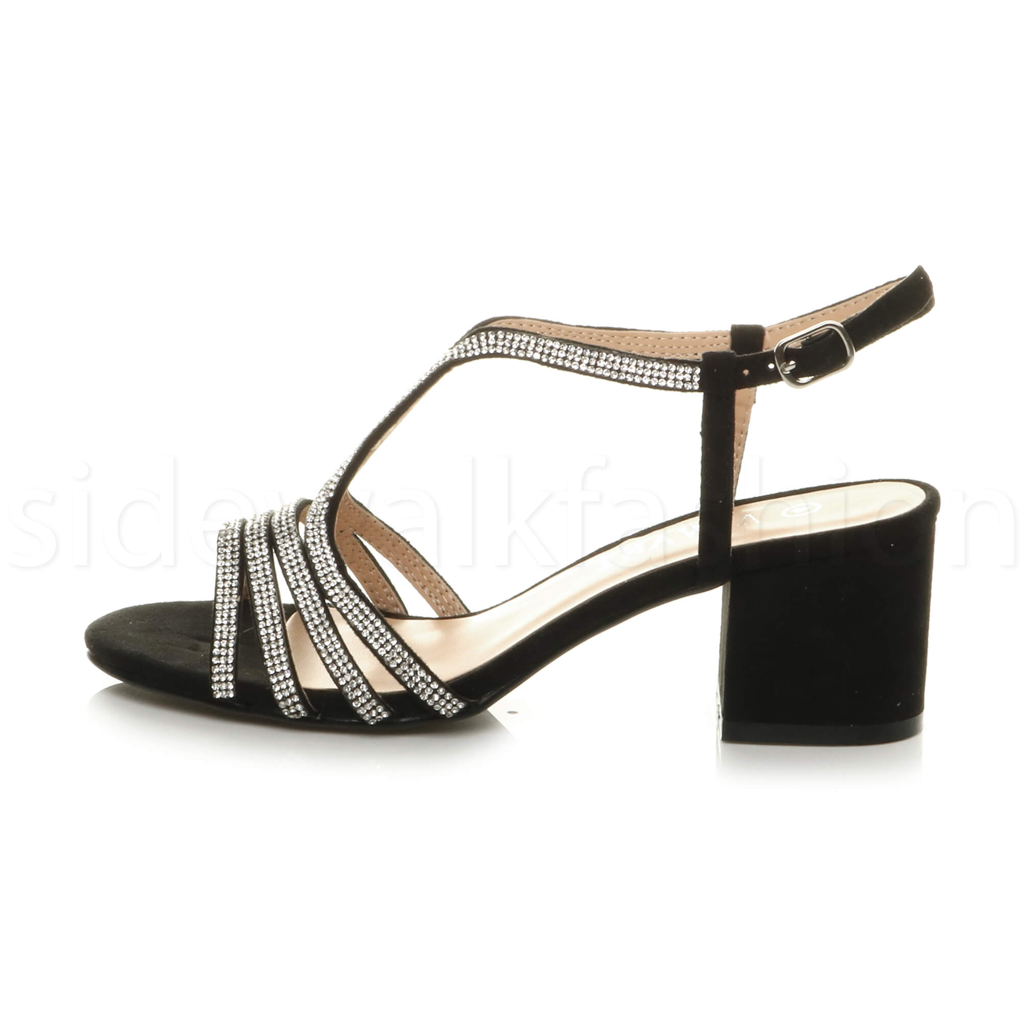 5ace2f041a09 Womens ladies mid heel T-Bar strappy diamante sparkly prom wedding ...