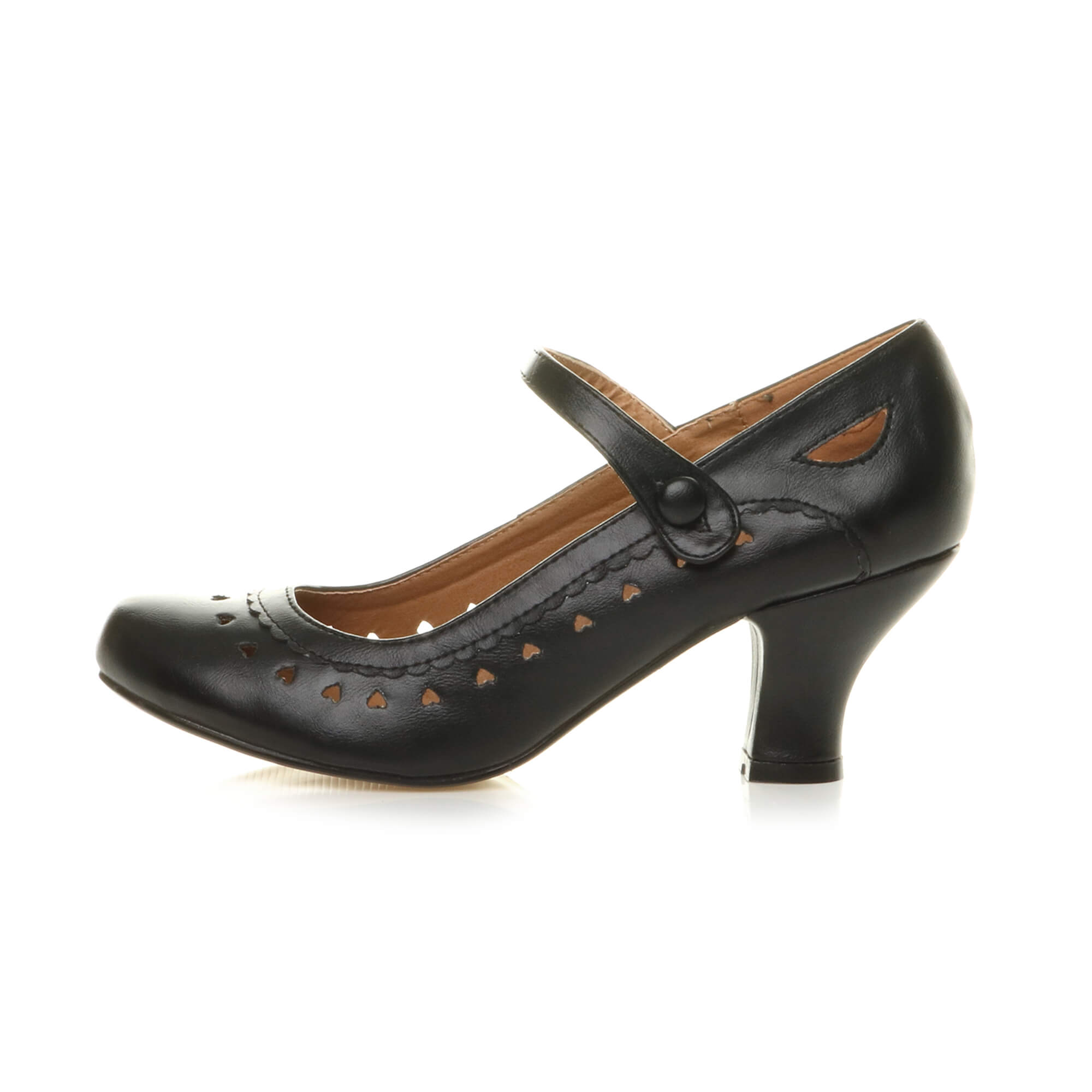Womens ladies low kitten heel mary jane style work court shoes pumps ...