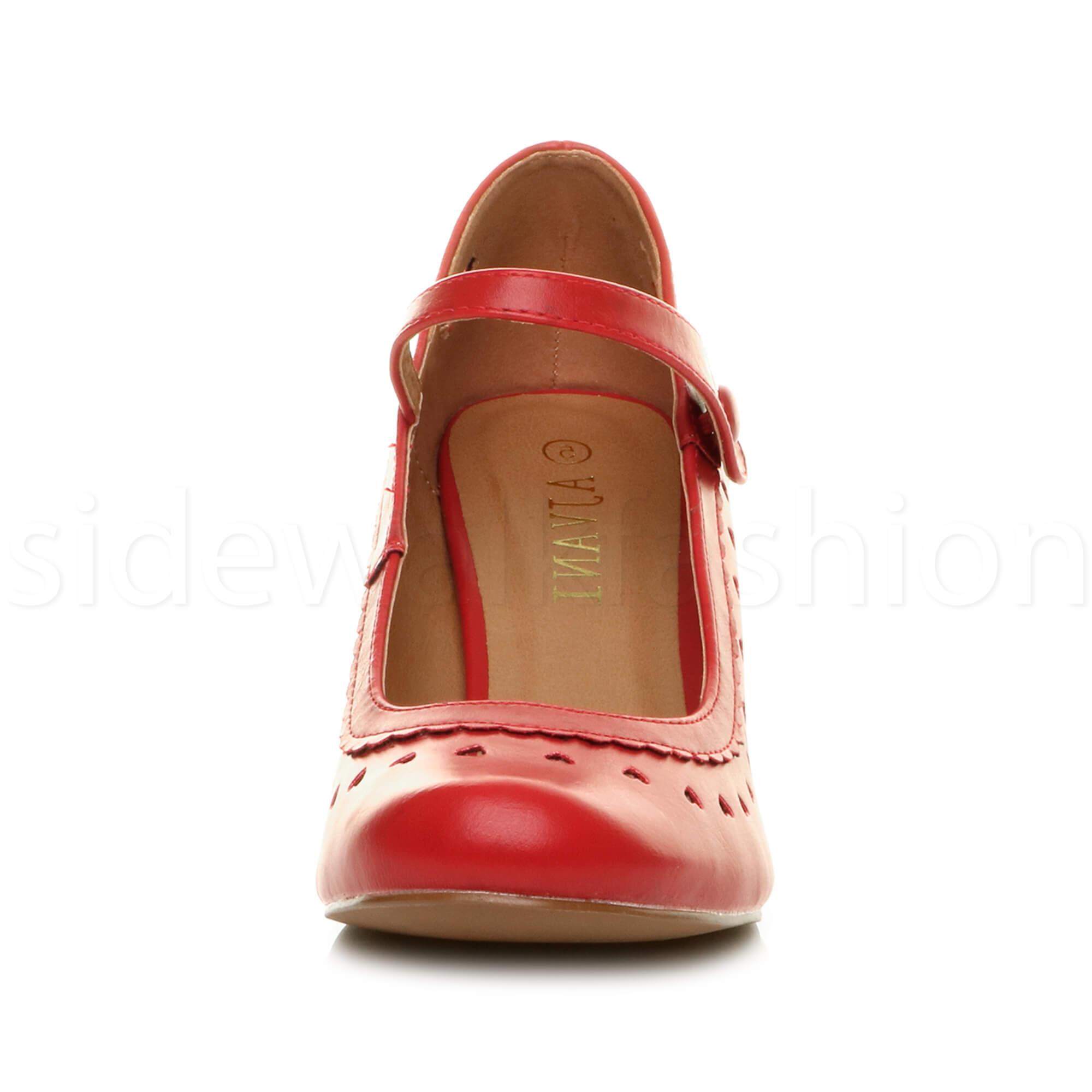 miniatura 48 - Da Donna Donna Stiletto Basso Mary Jane Stile Scarpe Eleganti Lavoro Pompe Dimensione