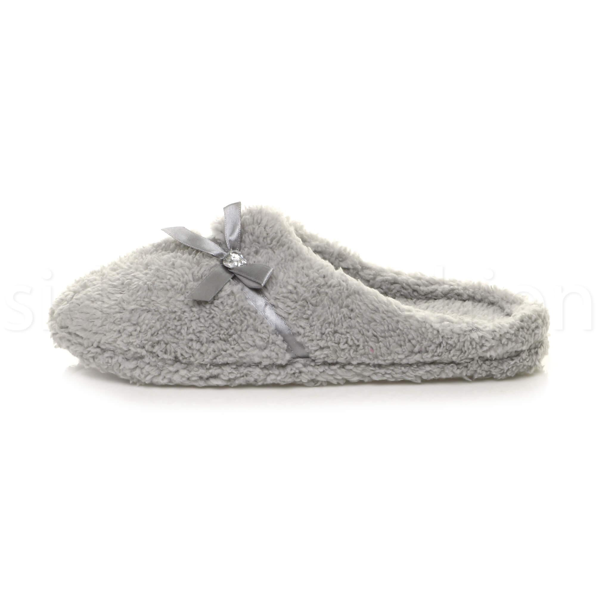 Ladies Fur Trim Diamante Fleece Warm Winter Women Mules Slippers UK 3 4 5 6 7 8
