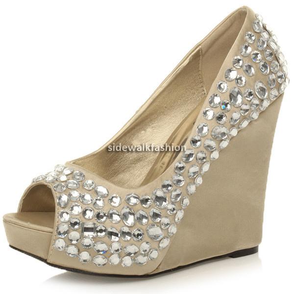 Womens-ladies-platform-high-heel-wedge-wedding-prom-bridal-party-gem-shoes-size