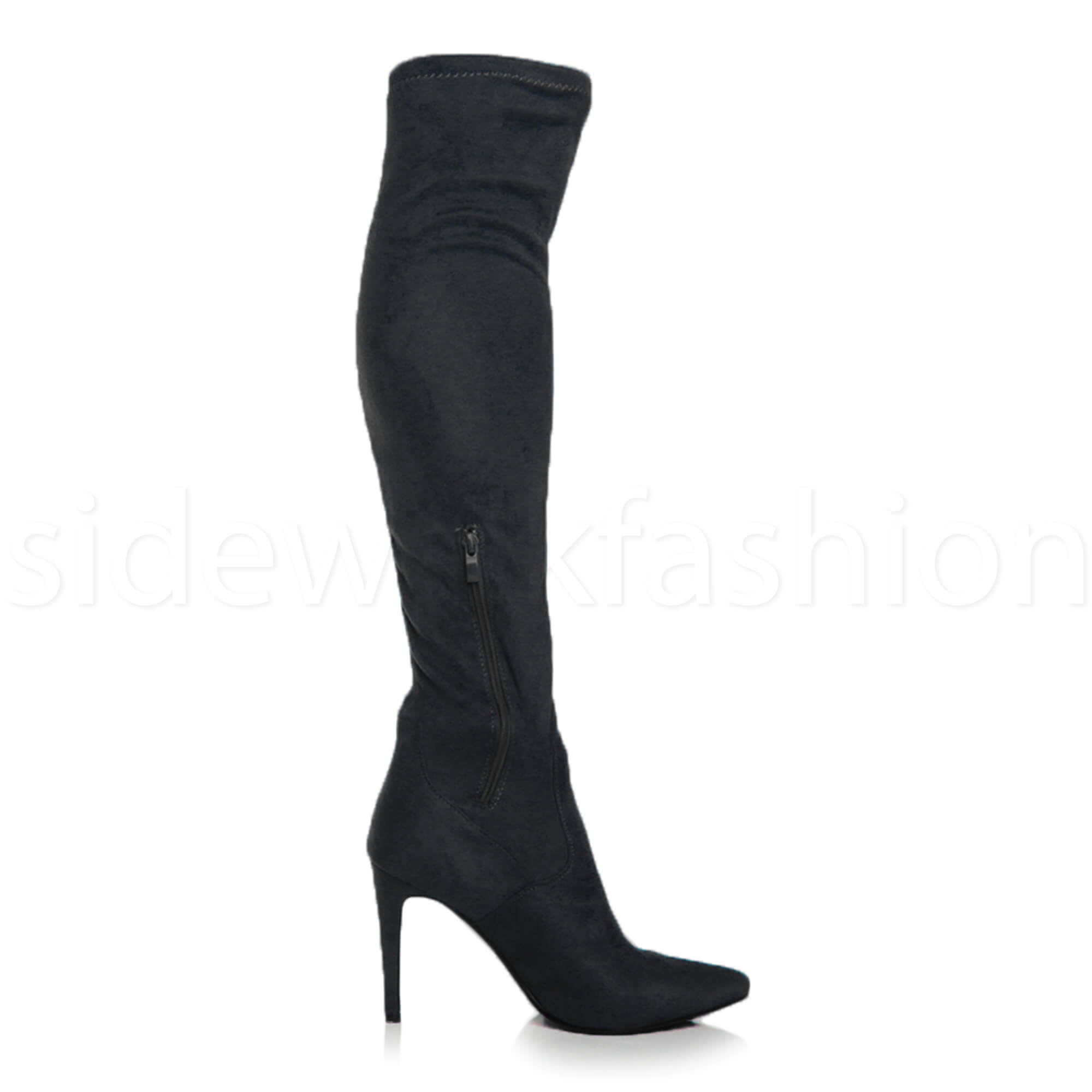 Womens-ladies-high-heel-over-the-knee-stretch-riding-pointed-boots-size miniatuur 9