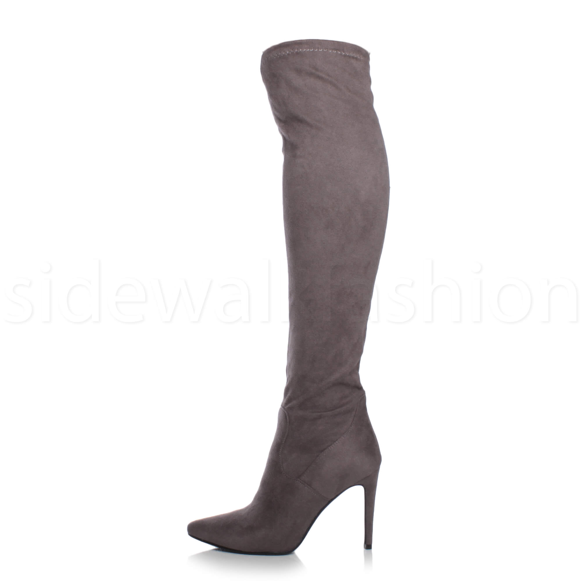 Womens-ladies-high-heel-over-the-knee-stretch-riding-pointed-boots-size miniatuur 18
