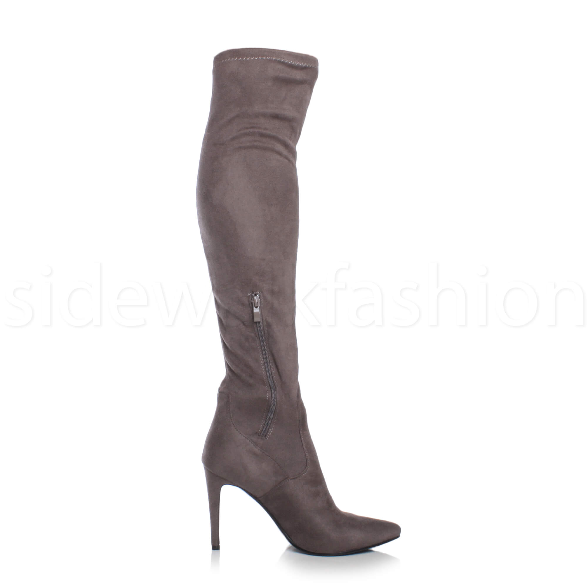 Womens-ladies-high-heel-over-the-knee-stretch-riding-pointed-boots-size miniatuur 19