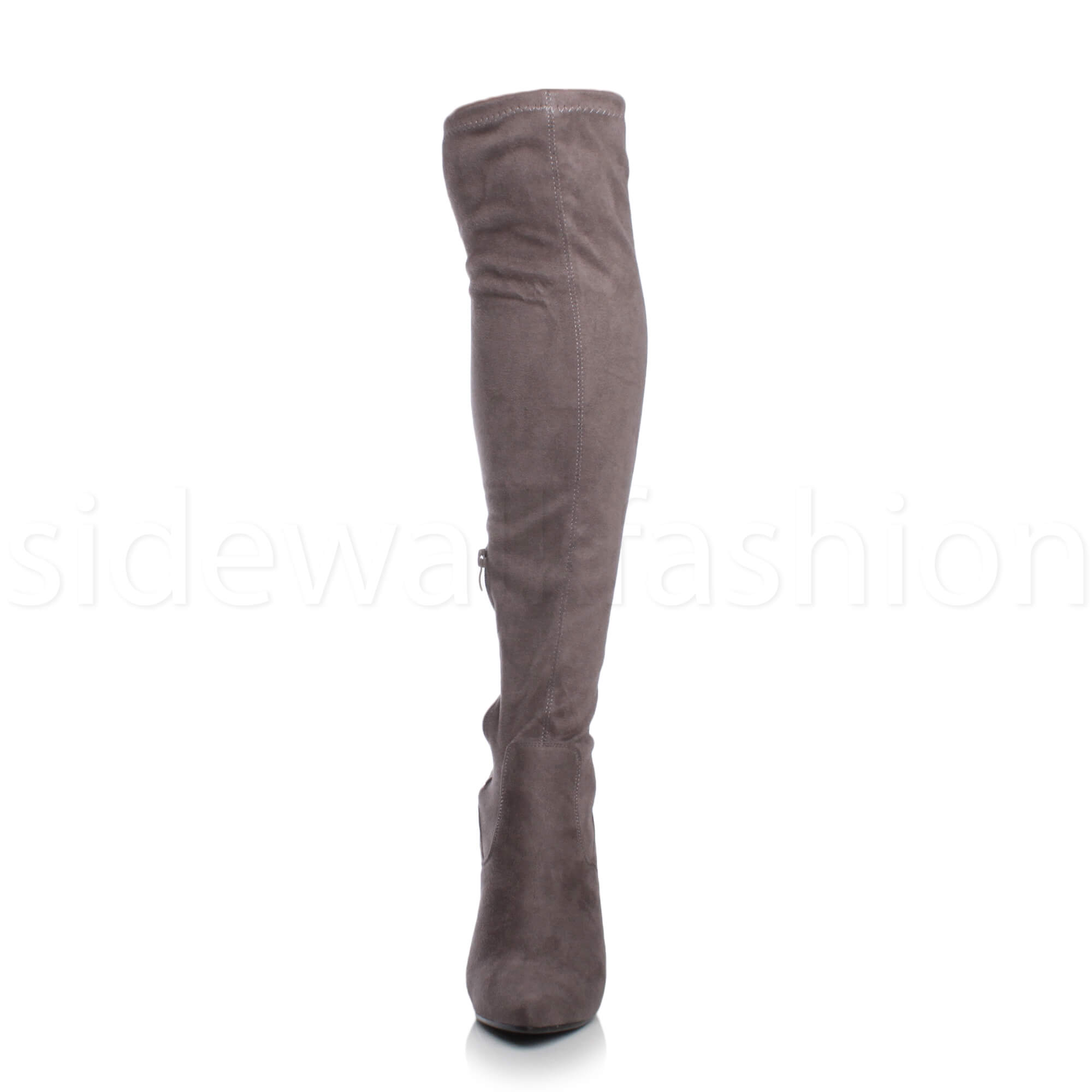 Womens-ladies-high-heel-over-the-knee-stretch-riding-pointed-boots-size miniatuur 20