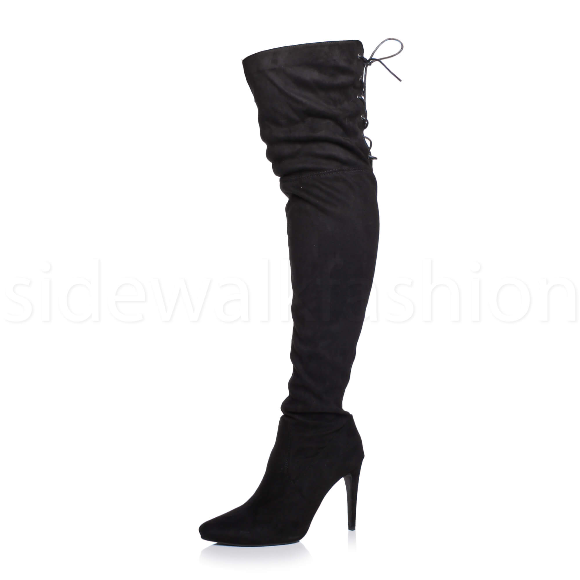 4b2bc257450 ... High Heel Pointed Over The Knee Stretch Thigh BOOTS Size UK 4   EU 37    US 6 Black Suede Lace up. About this product. Picture 1 of 6  Picture 2 of  6 ...