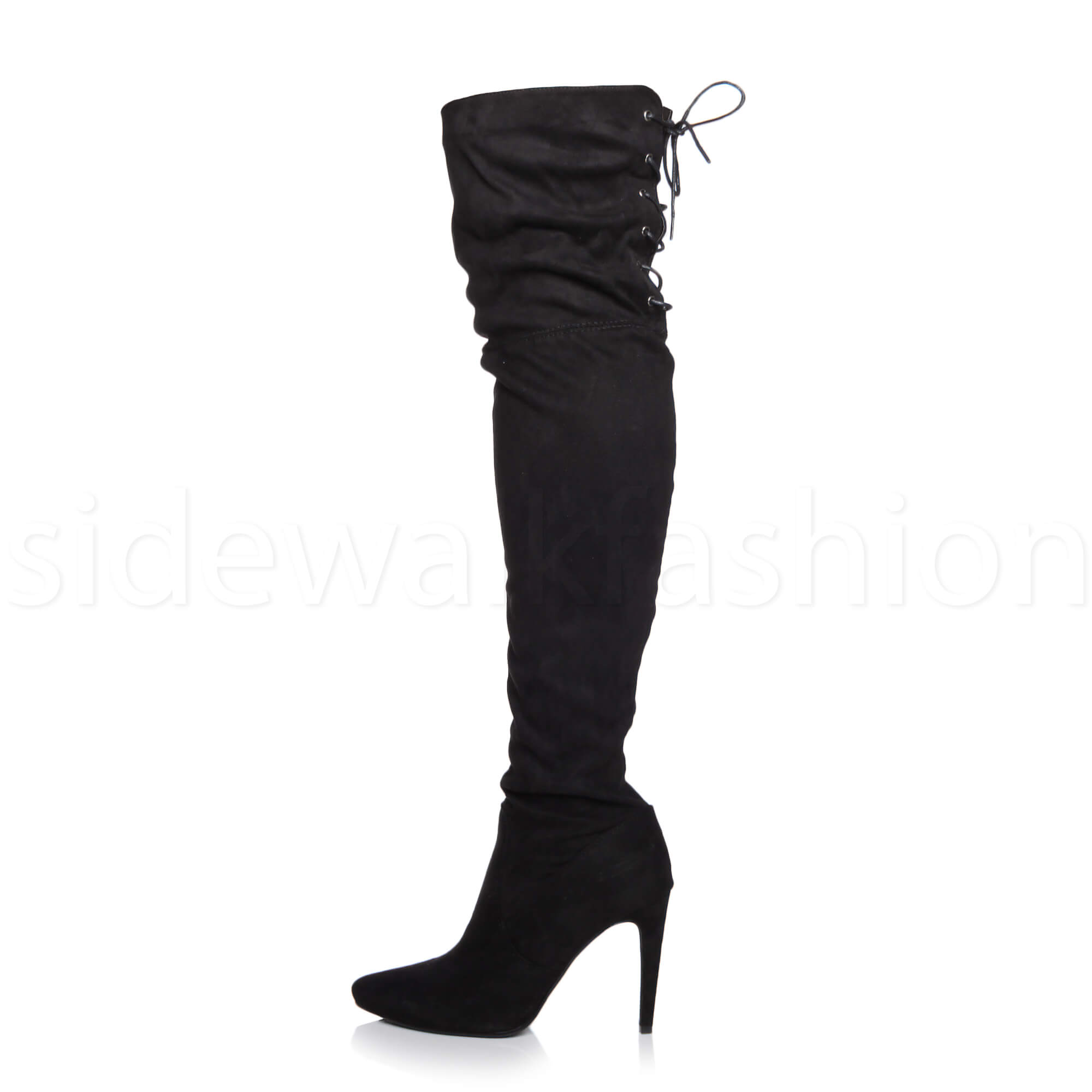 Womens-ladies-high-heel-over-the-knee-stretch-riding-pointed-boots-size miniatuur 13