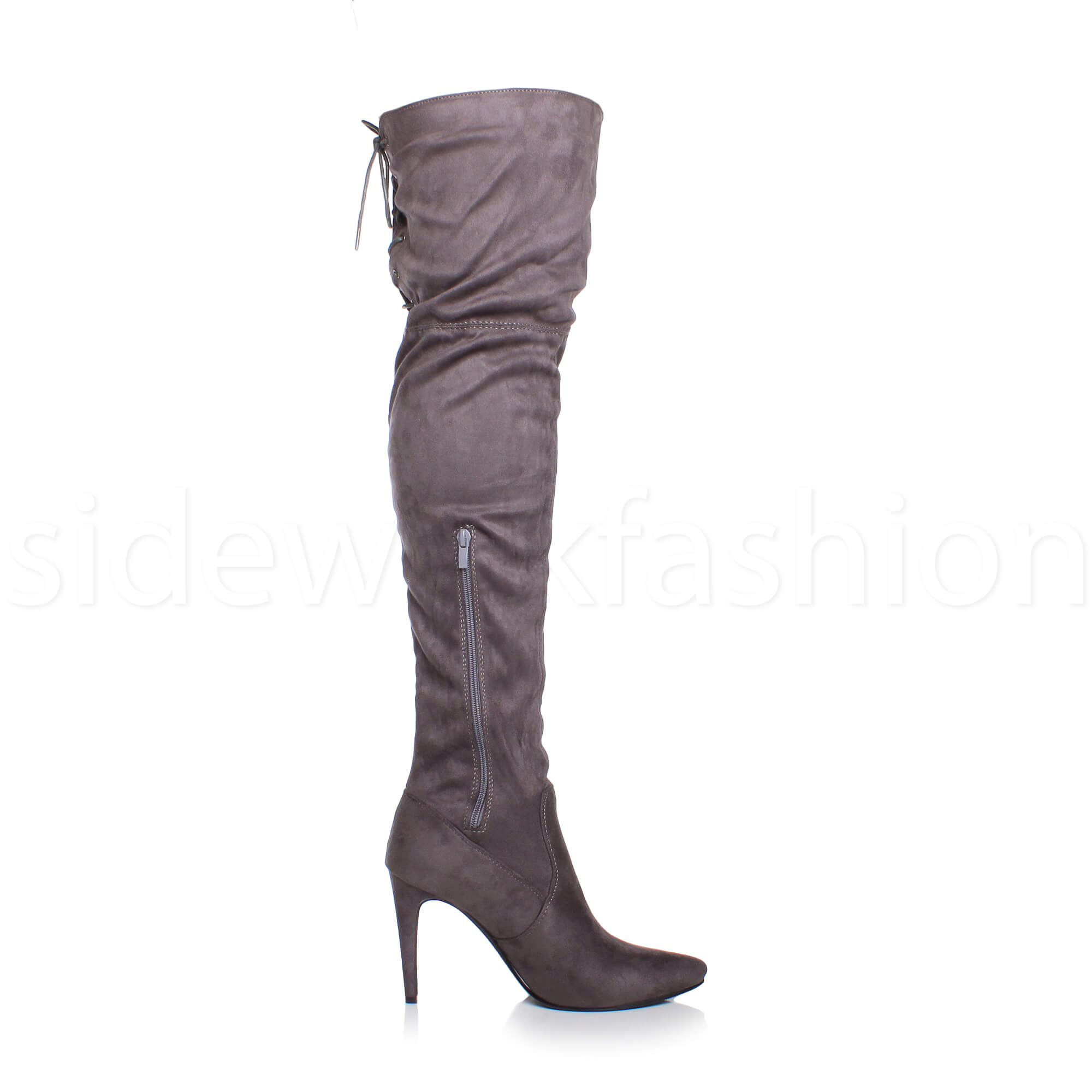 Womens-ladies-high-heel-over-the-knee-stretch-riding-pointed-boots-size miniatuur 23