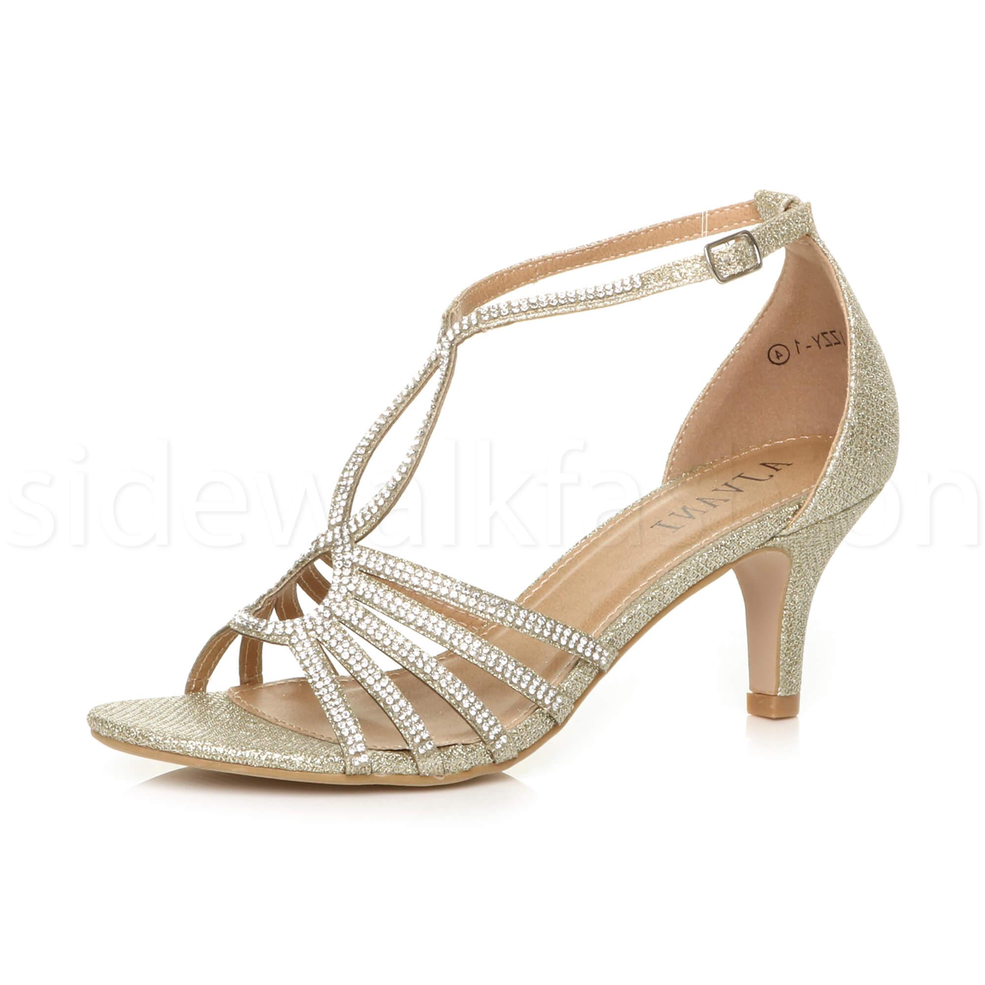 Womens-ladies-medium-heel-wedding-bridal-t-bar-strappy-sandals-prom-shoes-size