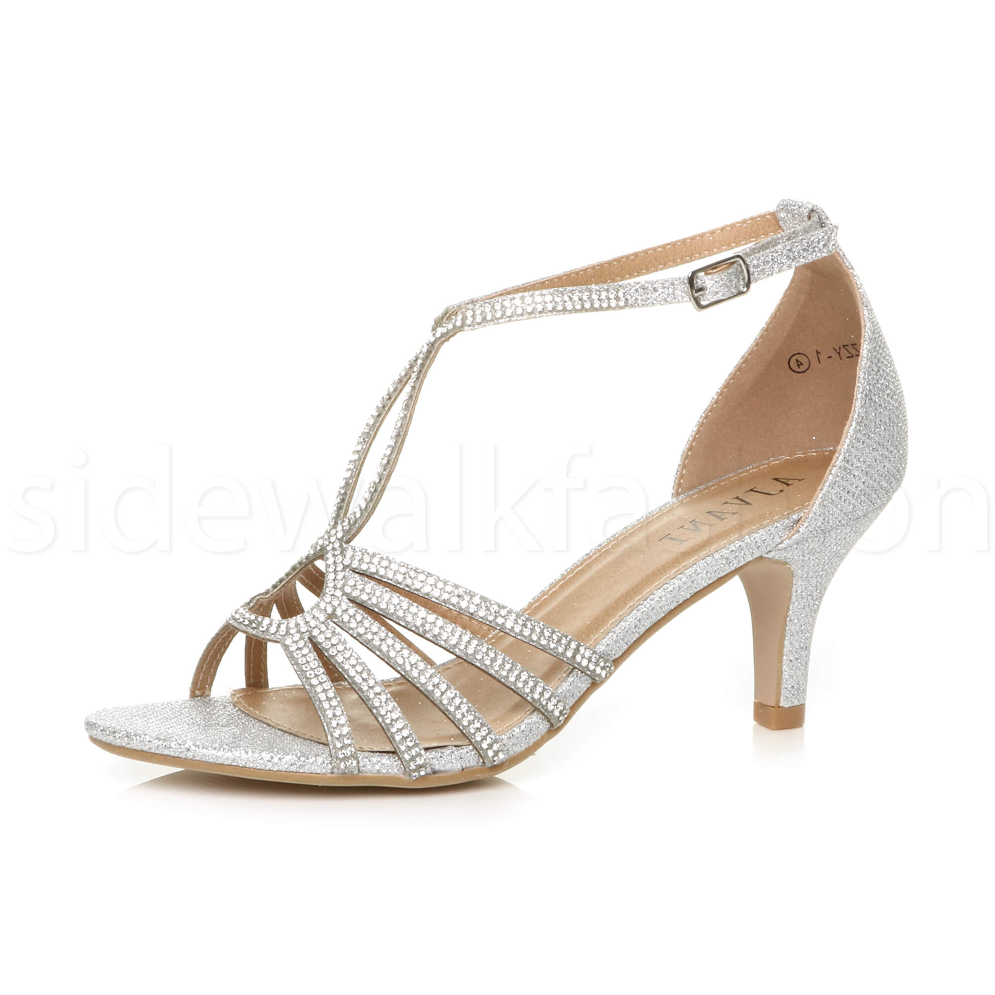 5bc69373a22 Womens ladies medium heel wedding bridal t-bar strappy sandals prom shoes  size