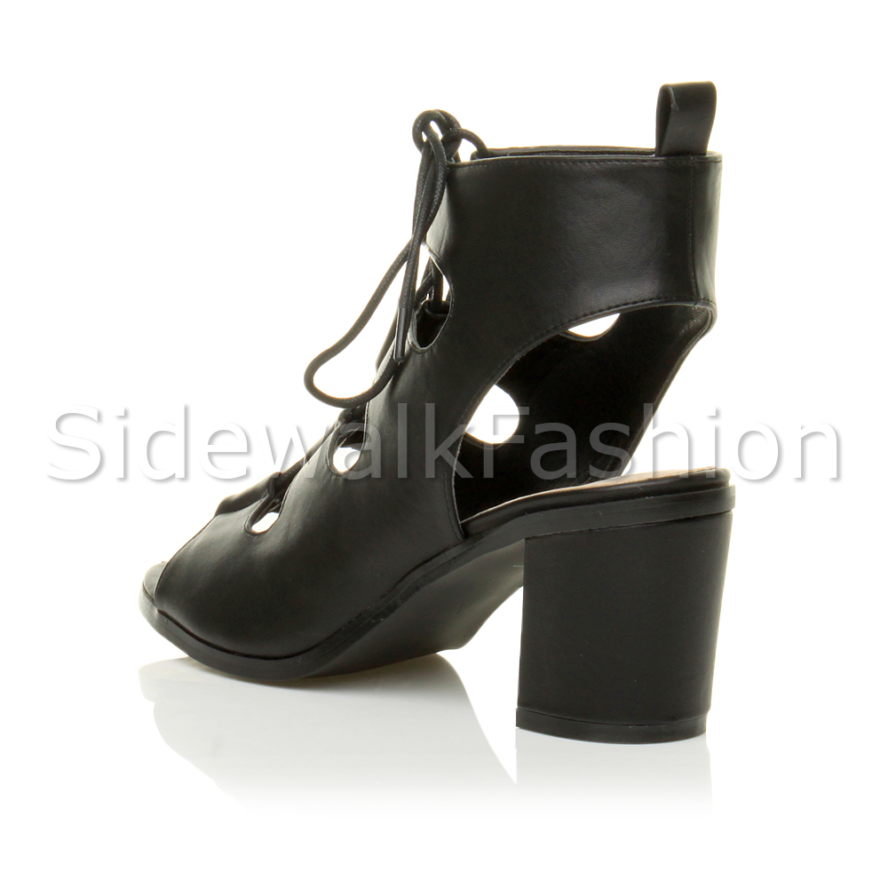5fb1fce735 Womens block mid heel ladies lace up ankle boots cut out sandals ...