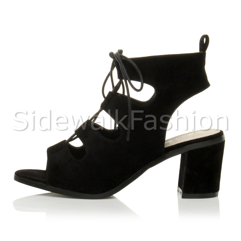 5dda20585e94 Womens Block Mid Heel Ladies Lace up Ankle BOOTS Cut out Sandals ...