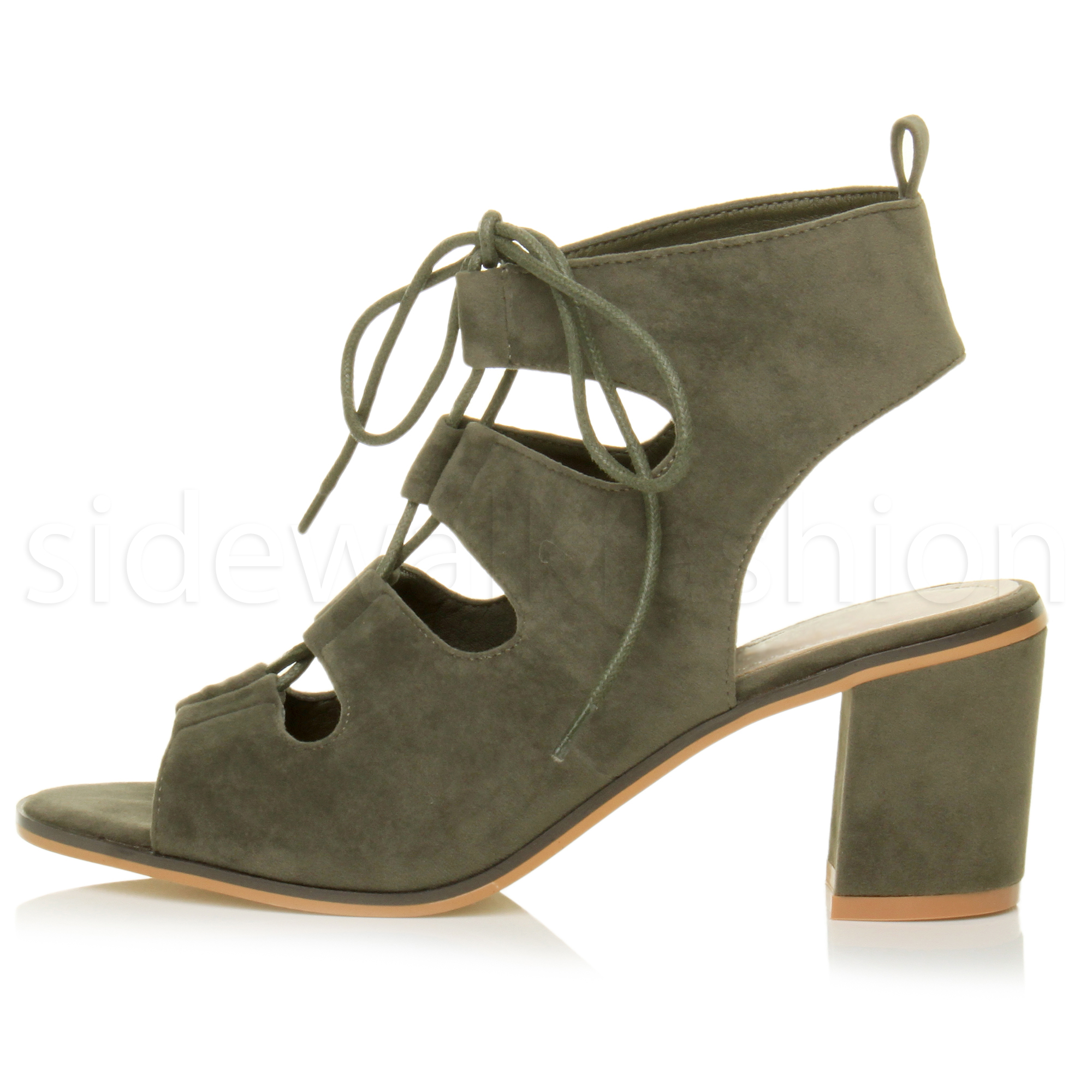 Womens block mid heel ladies lace up ankle boots cut out sandals ...