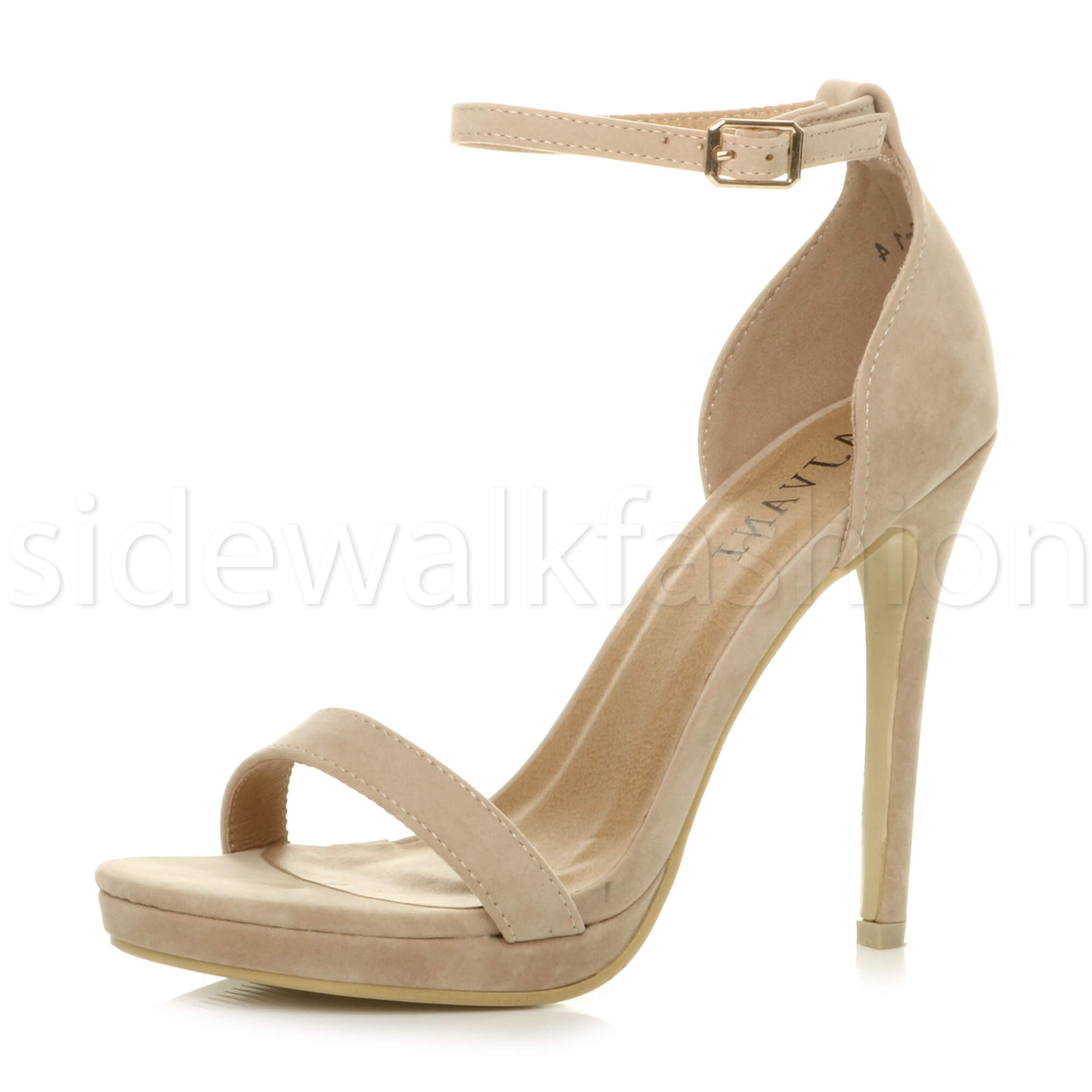 1059cd0278f9 ... Barely There Strappy Party PEEP Toe Shoes Sandals Size UK 6   EU 39    US 8 Nude Suede. About this product. Picture 1 of 8  Picture 2 of 8 ...