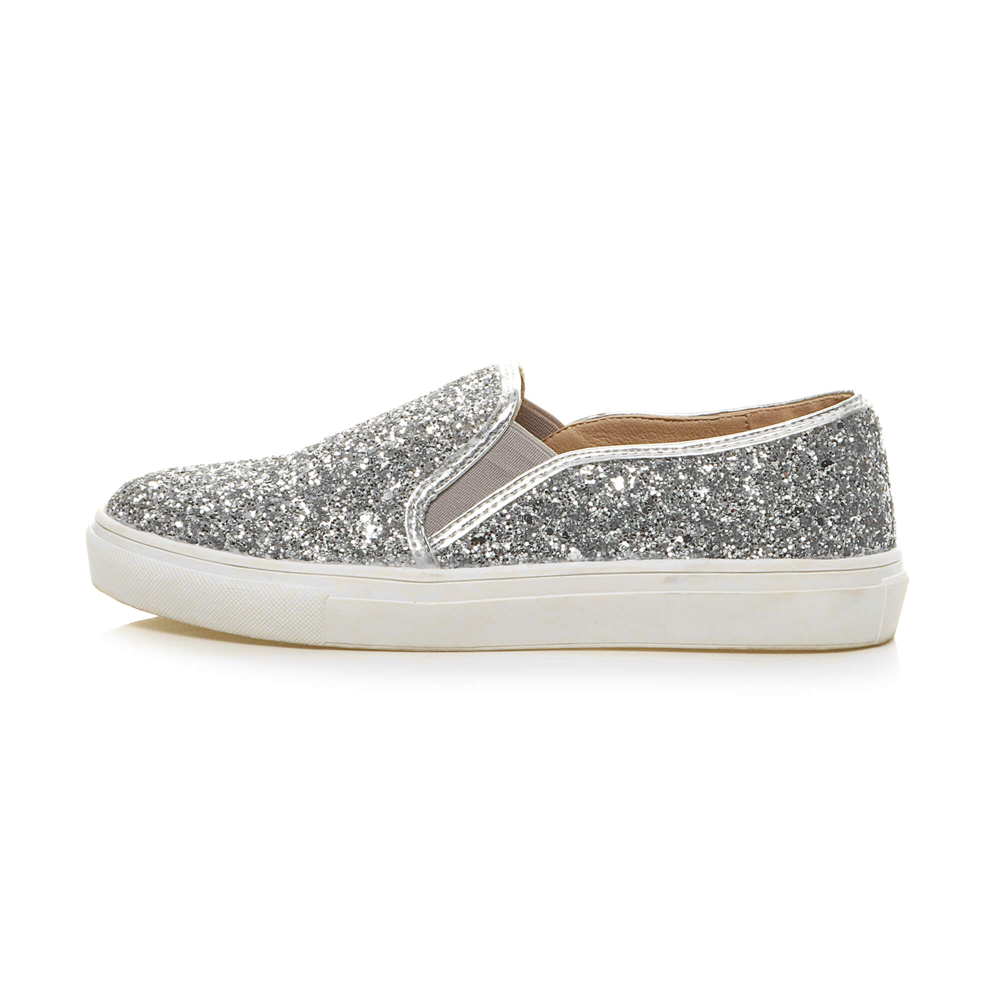 Womens-ladies-flat-glitter-sparkly-slip-on-casual-plimsoles-trainers-shoes-size