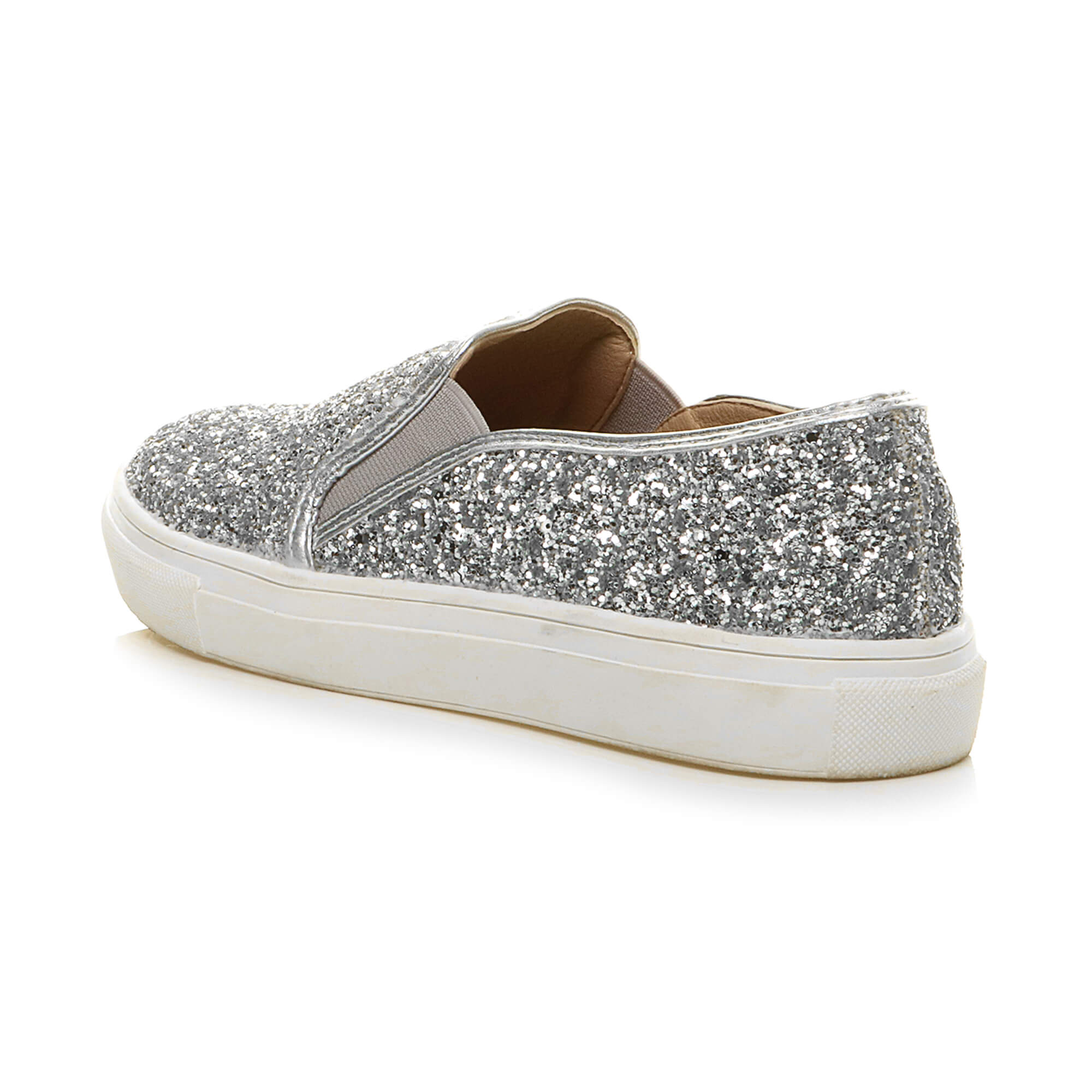 eae5f49be Womens ladies flat glitter sparkly slip on casual plimsoles trainers ...