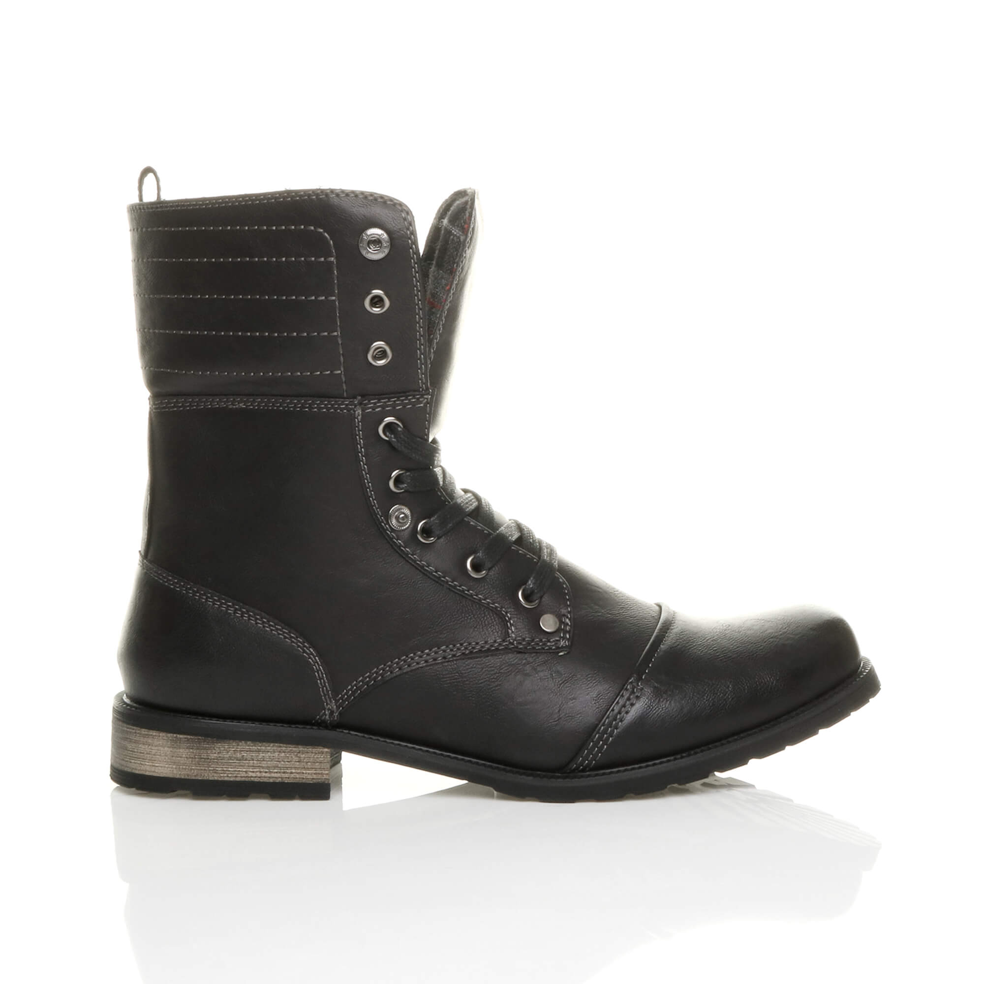 Mens-lace-up-low-heel-flat-fold-over-padded-cuff-military-ankle-boots-size miniatuur 3