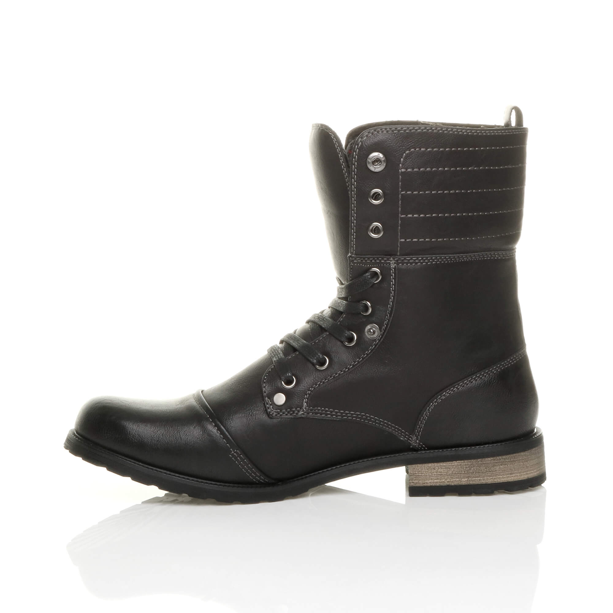 Mens-lace-up-low-heel-flat-fold-over-padded-cuff-military-ankle-boots-size miniatuur 4